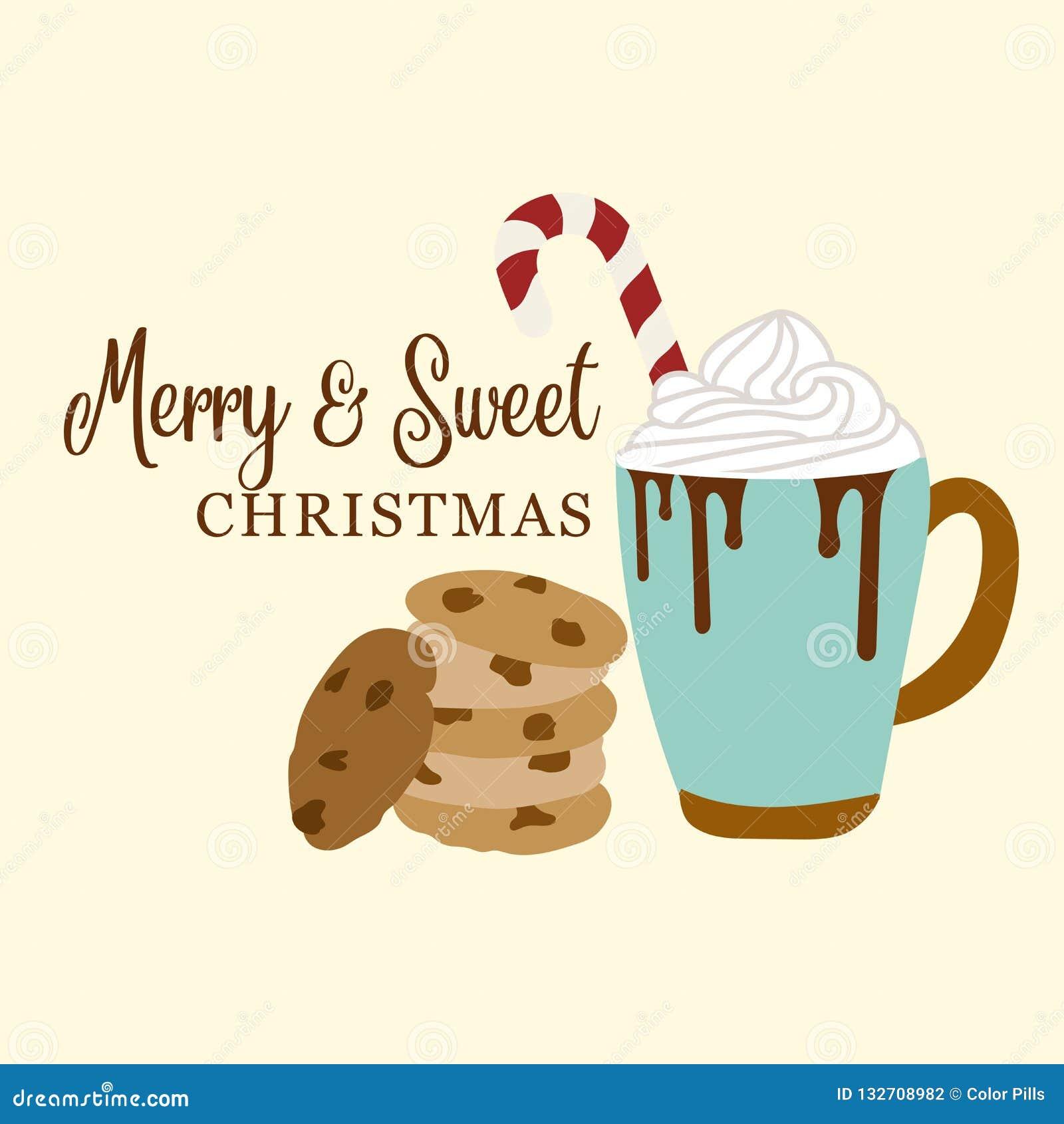 与巧克力热饮和曲奇饼的逗人喜爱的圣诞卡片