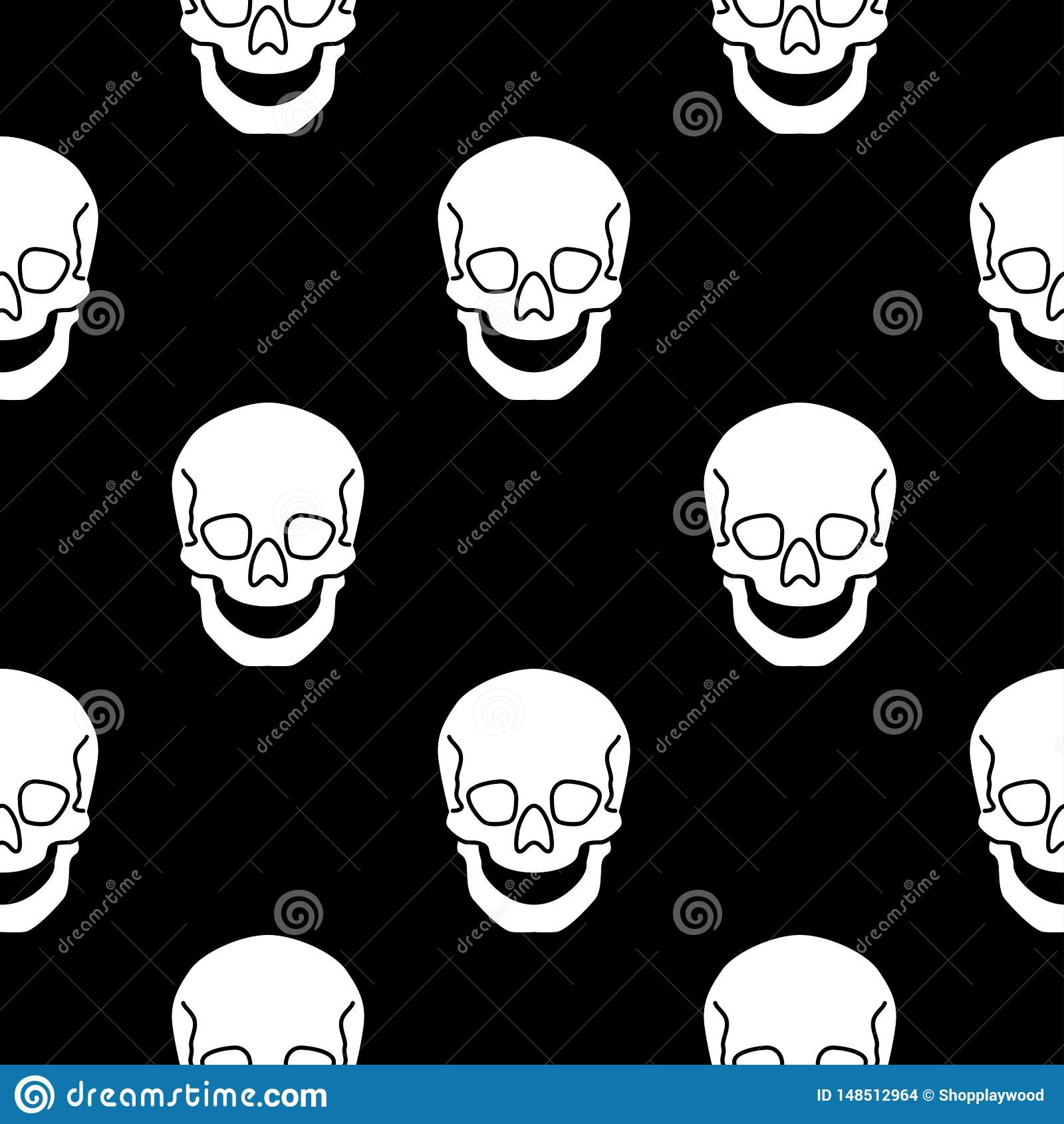 与平的传染媒介头骨例证的无缝的样式