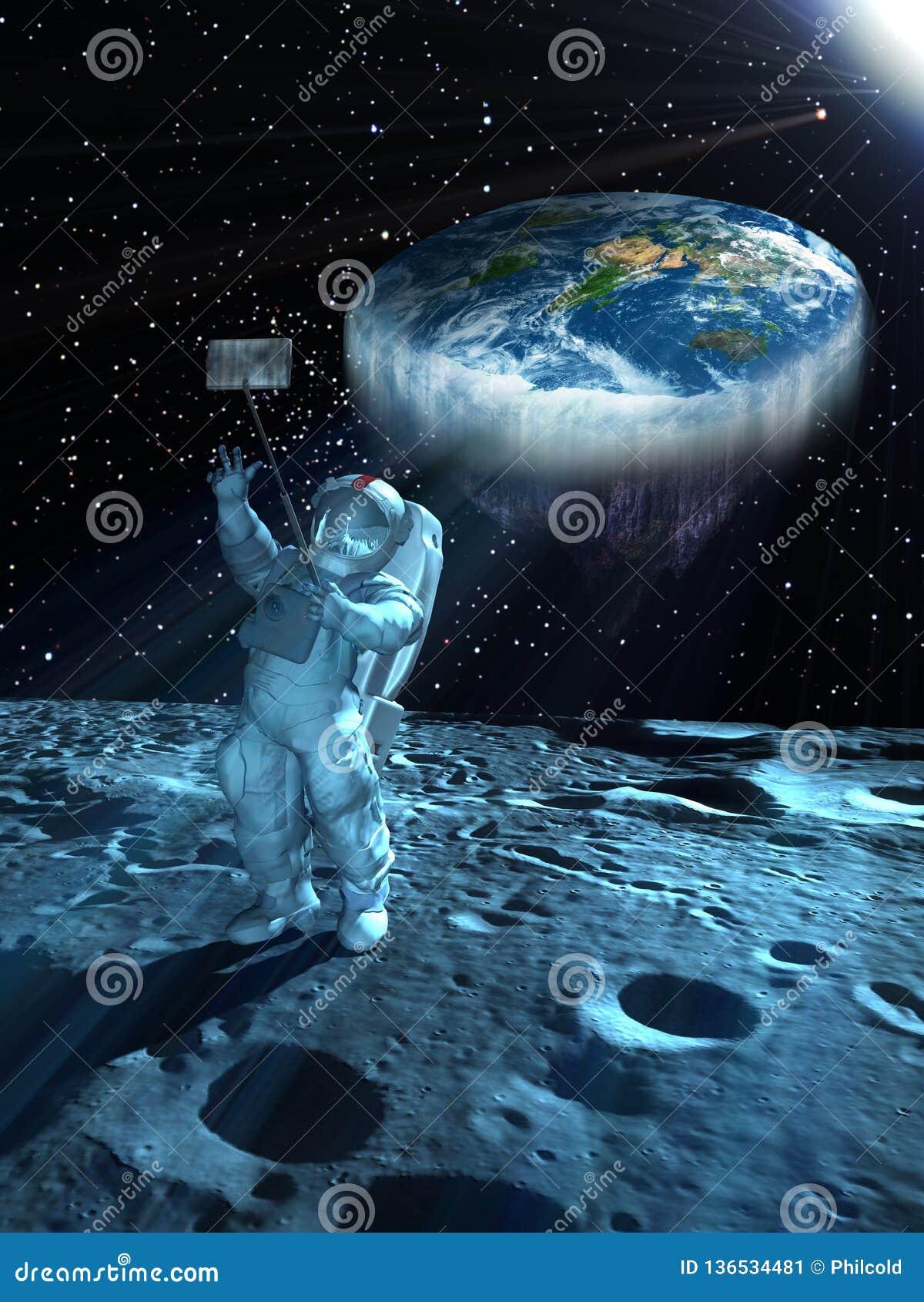 与平的地球的Selfie在空间