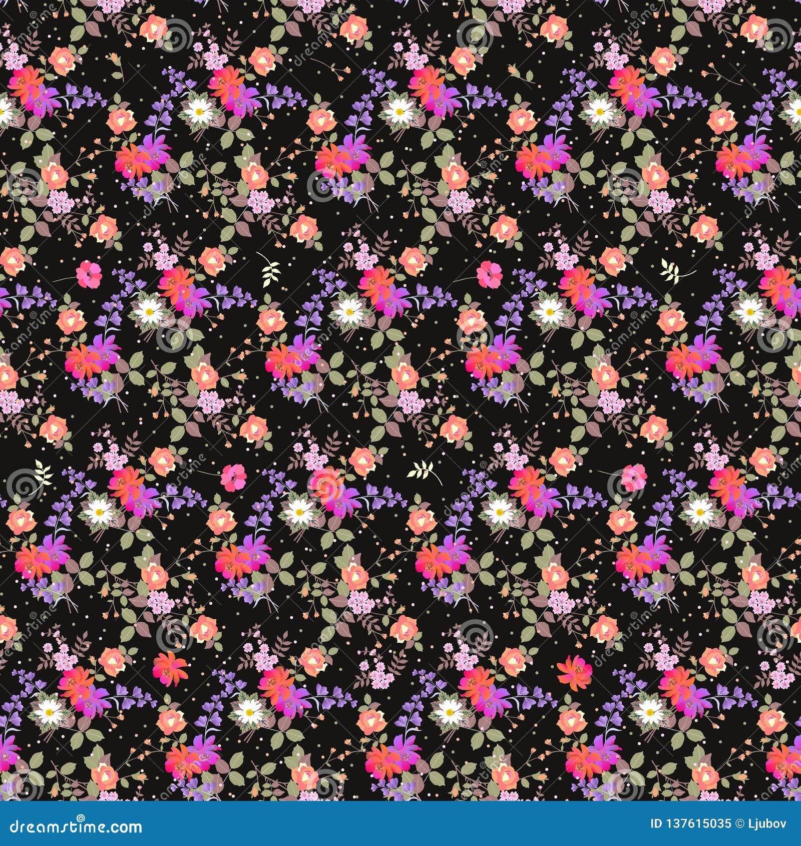 与庭院花和多色五彩纸屑花束的无缝的花卉样式  织品的印刷品 响铃和波斯菊花