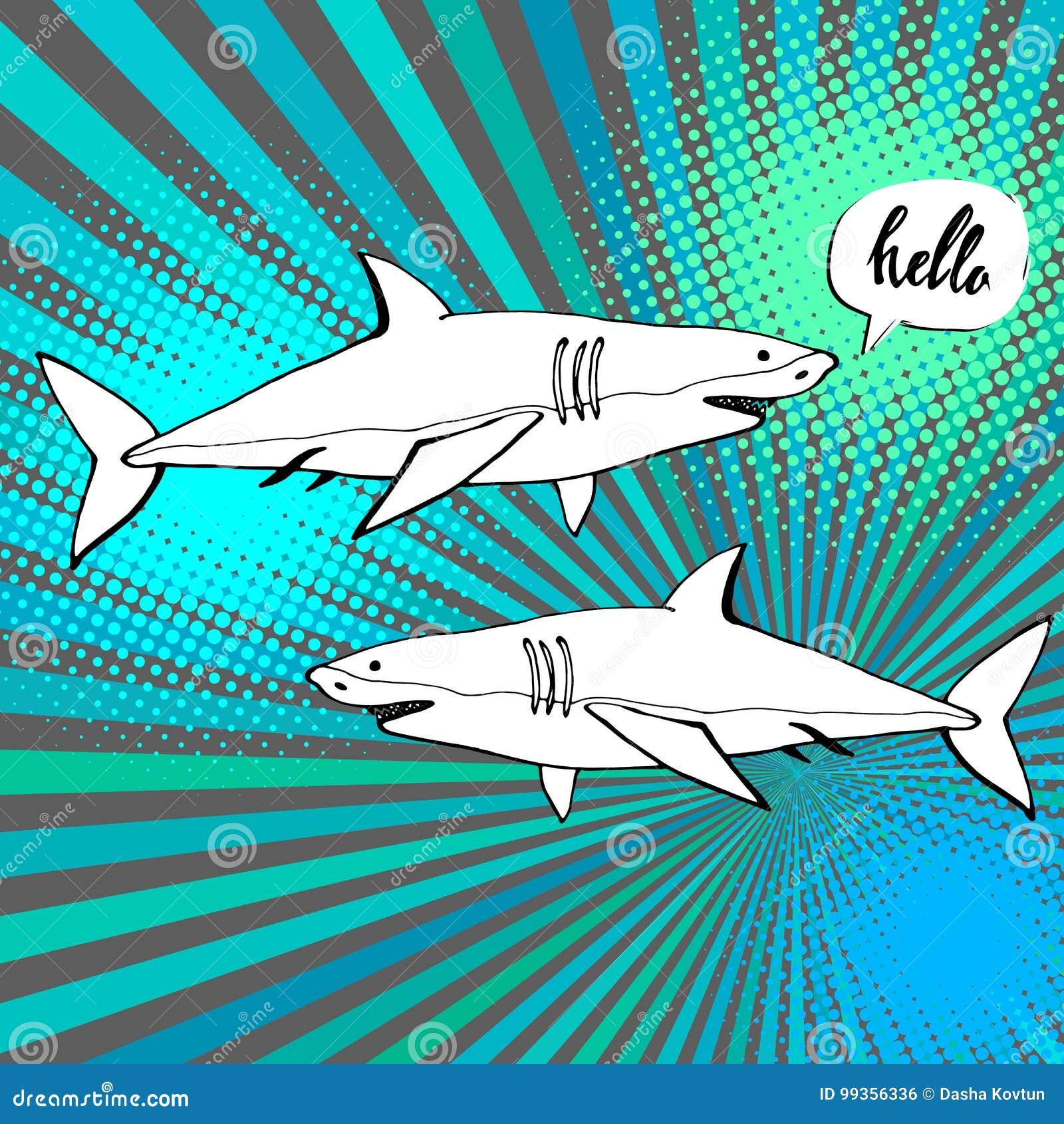 与开放嘴的鲨鱼 平的例证