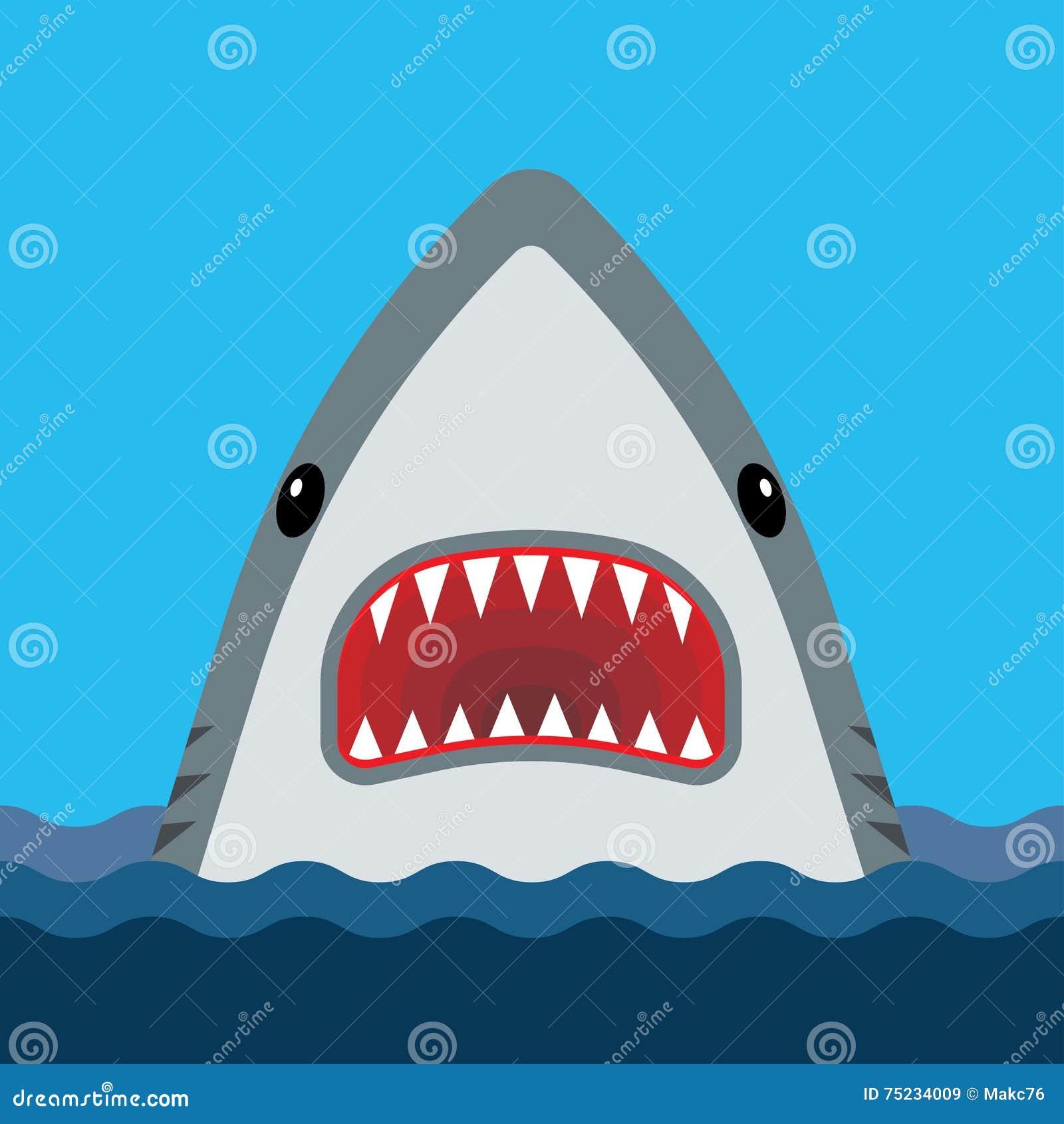 与开放嘴和锋利的牙齿的鲨鱼