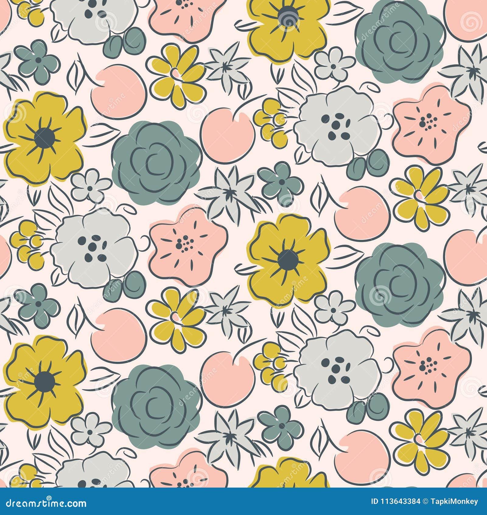 与开花的花和莓果的无缝的样式