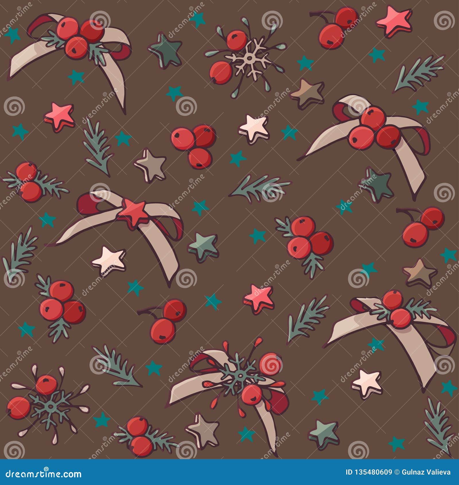 与弓、星和莓果的传染媒介无缝的圣诞节样式