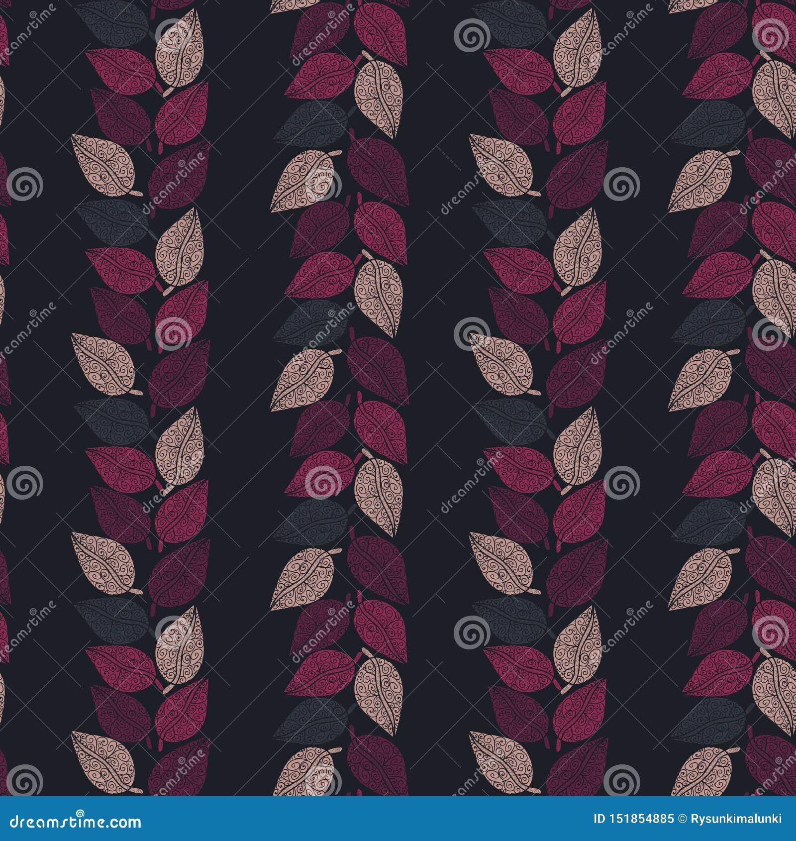 与形成在黑暗的背景的桃红色和紫色叶子的无缝的传染媒介样式垂直条纹