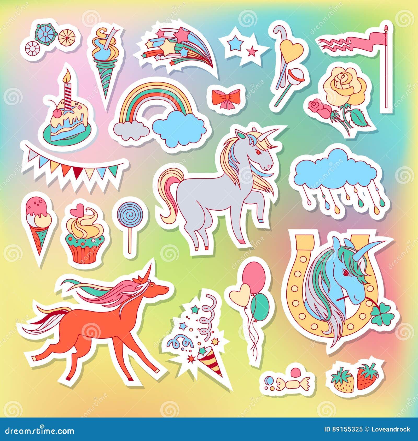 与彩虹、独角兽、云彩、蛋糕、甜点、冰淇凌和旗子的独角兽多色贴纸