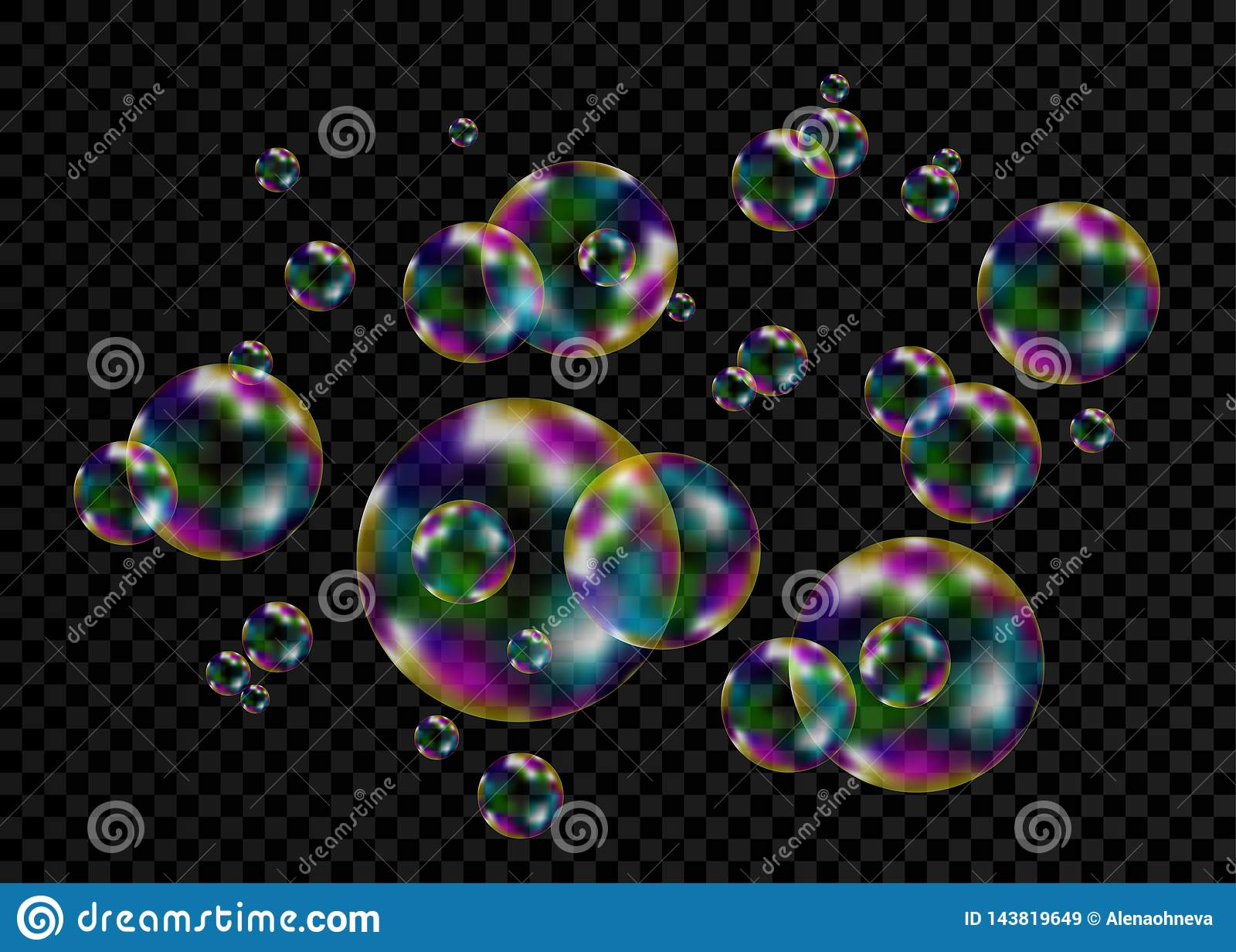 与彩虹反射的五颜六色的肥皂泡