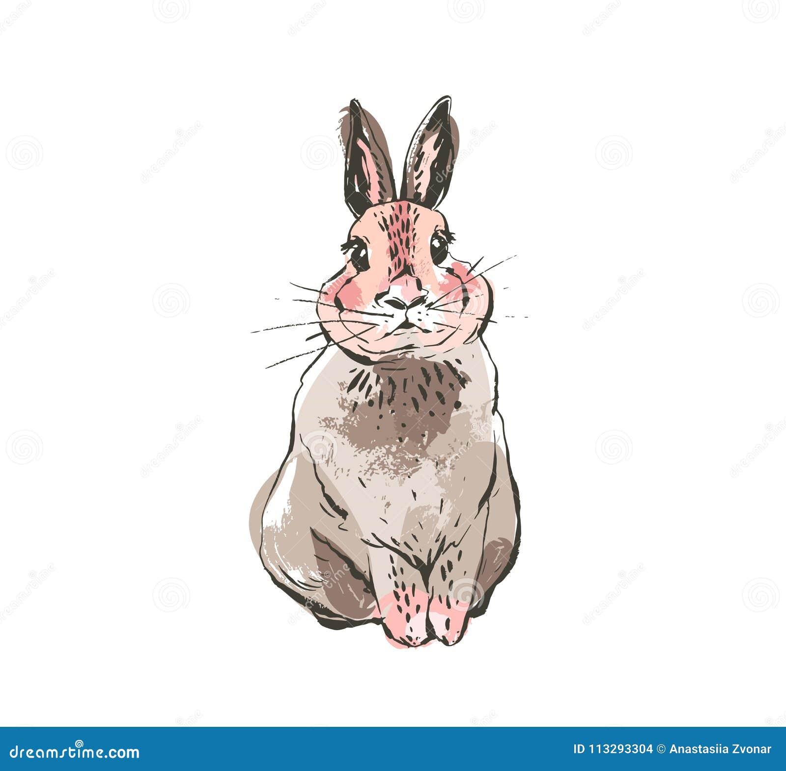 与徒手画的手拉的传染媒介摘要墨水剪影图解图画斯堪的纳维亚愉快的复活节简单的兔宝宝例证