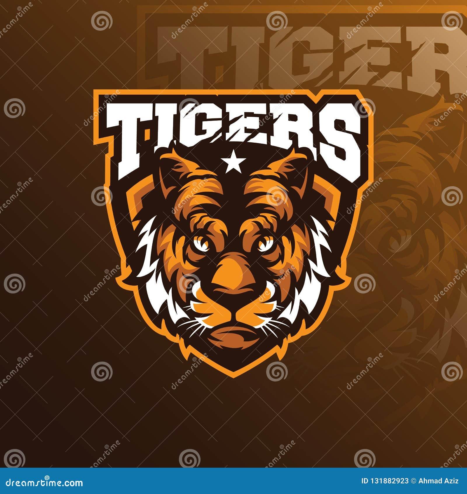 与徽章象征概念的顶头老虎吉祥人商标设计传染媒介