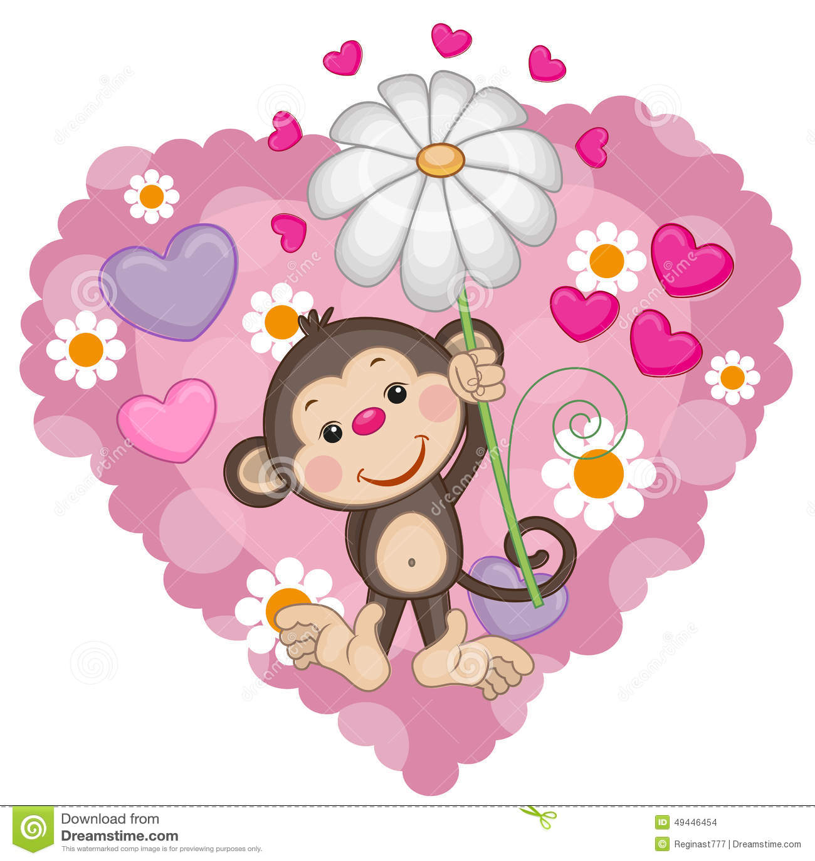 花猴子_与心脏和花的贺卡猴子.