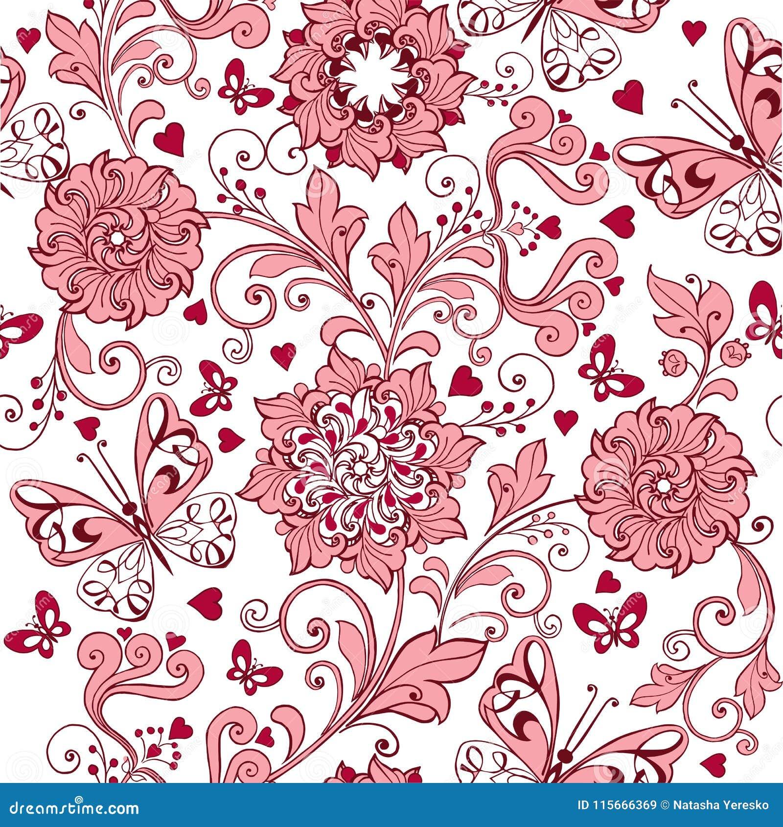 与心脏和蝴蝶的葡萄酒桃红色无缝的样式 织品的,纺织品,包装纸,卡片典雅的背景