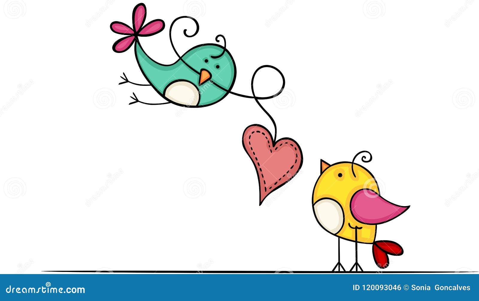 与心脏的可爱的鸟