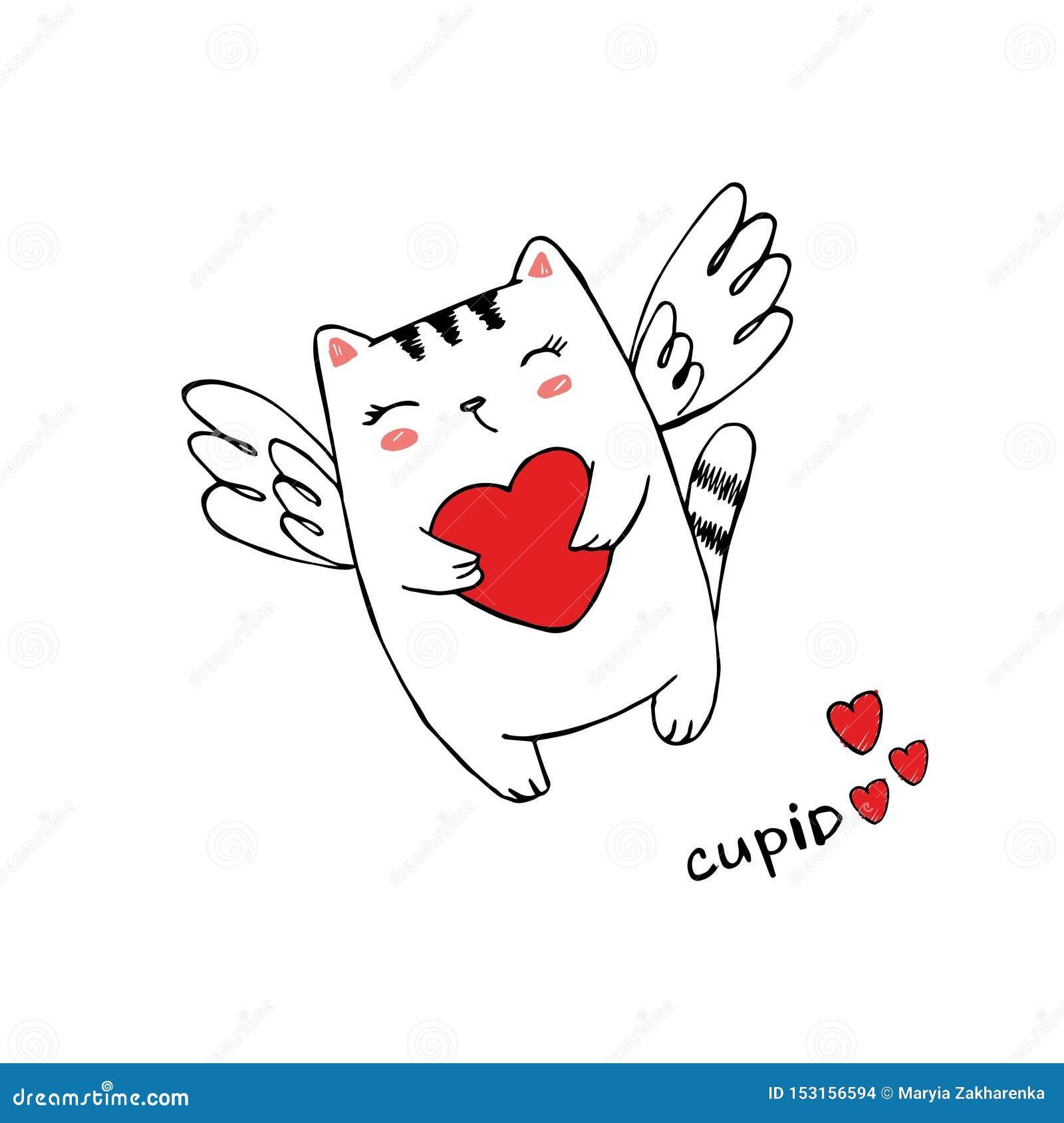 与心脏的滑稽的小的猫丘比特 一个情人节的例证 与翼的猫天使