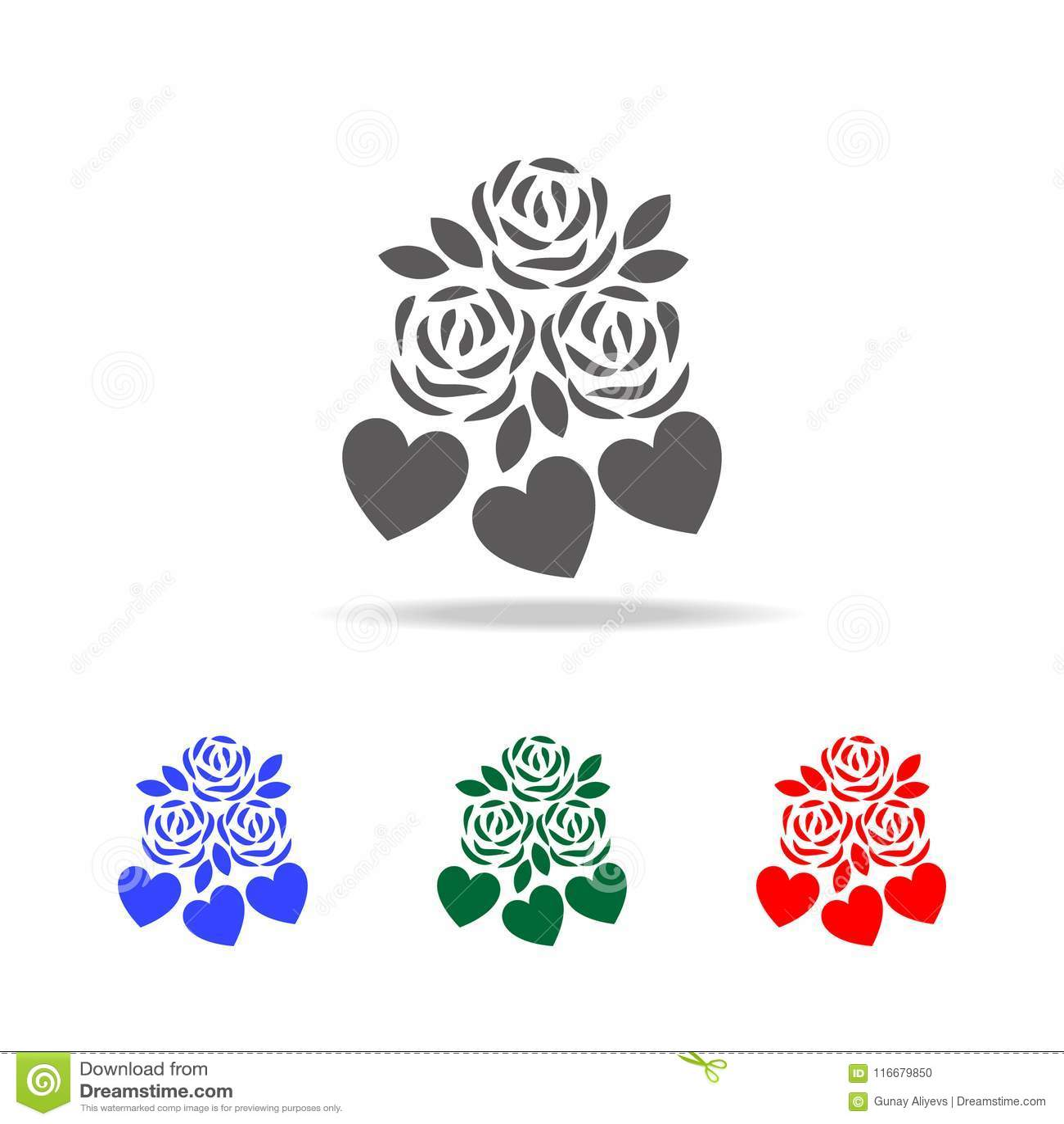与心脏象的花 华伦泰 's天的元素在多色的象 优质质量图形设计象 简单的象fo