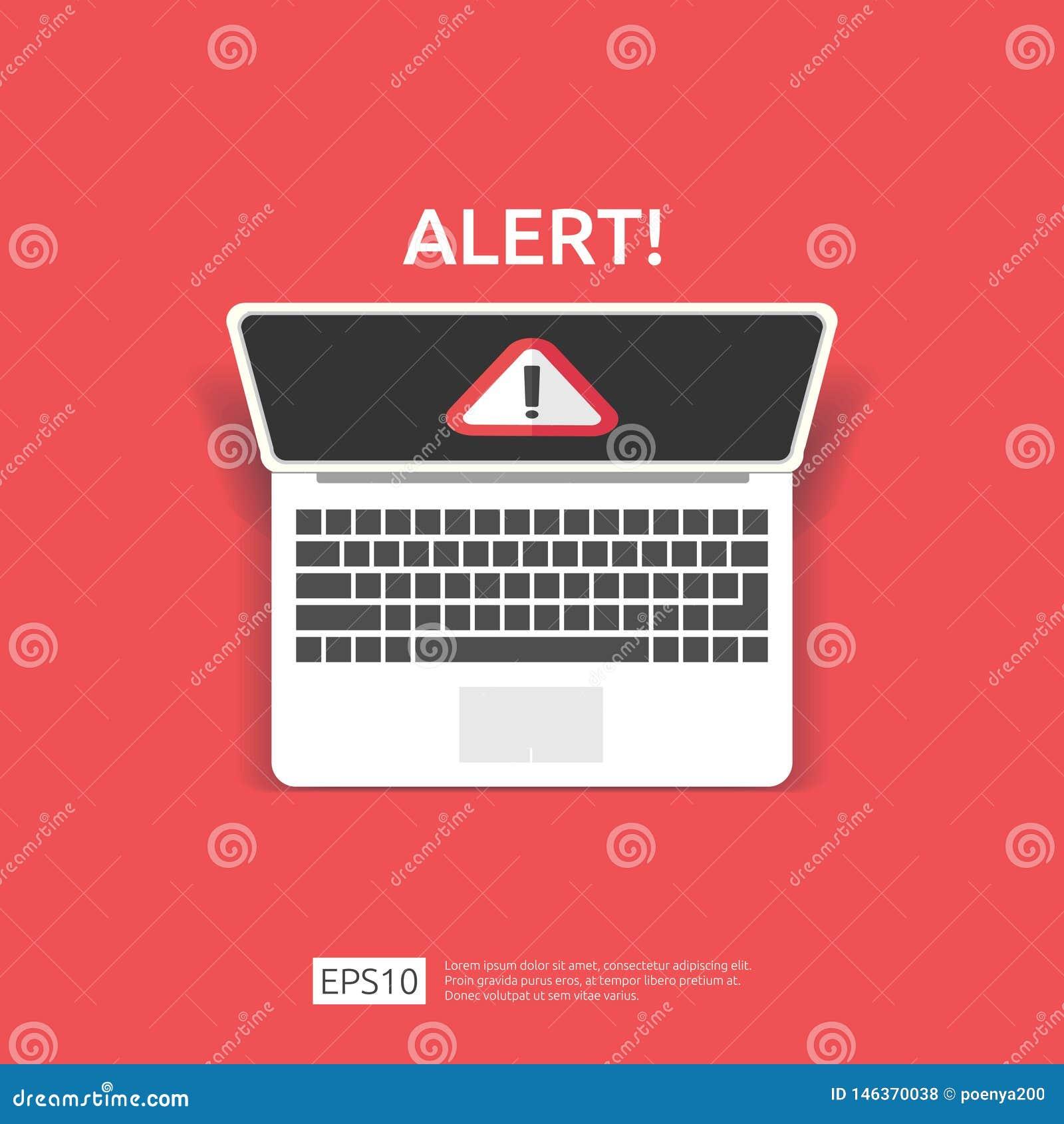 与惊叹号的注意警告的攻击者戒备标志在计算机显示器屏幕上 当心互联网危险标志的警报