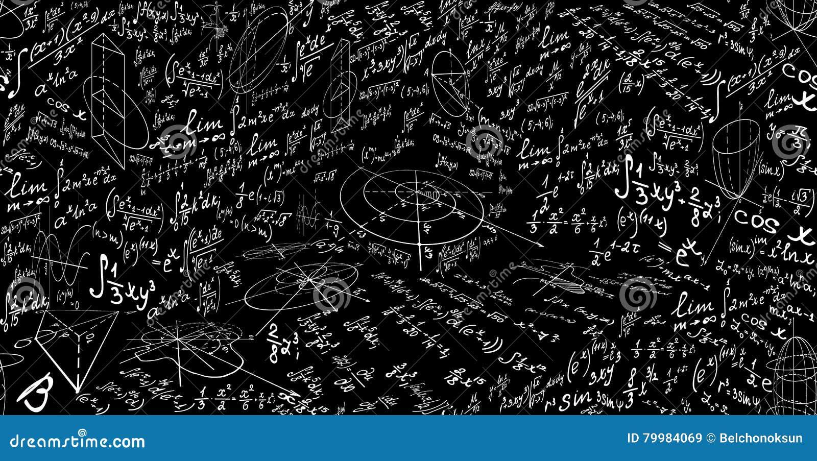 与惯例和图,演算的算术传染媒介无缝的样式 不尽的教育科学纹理