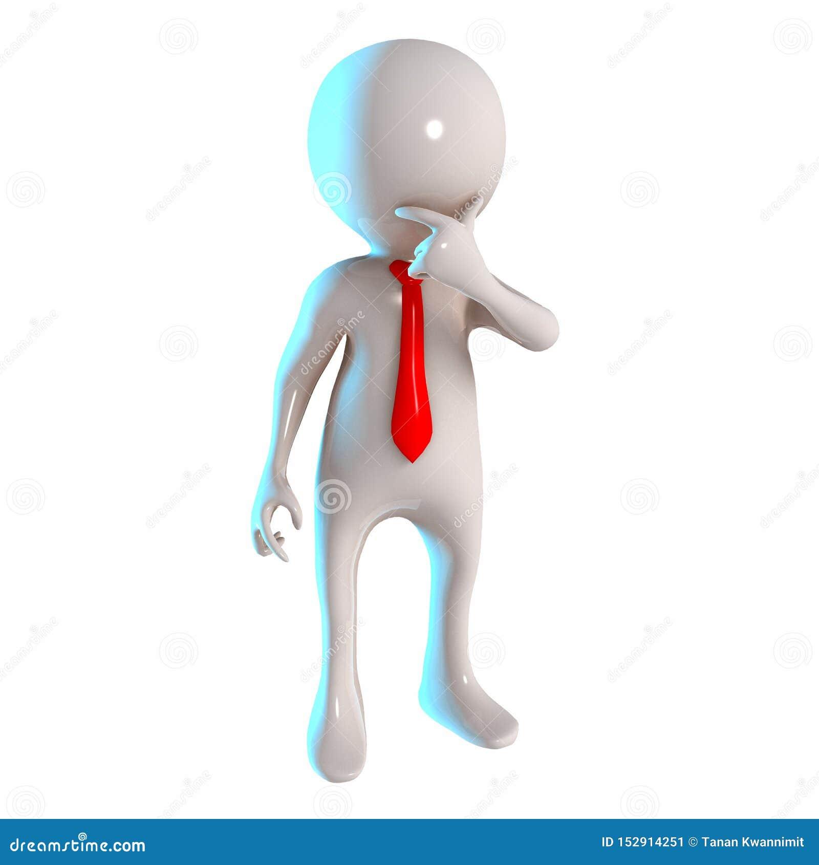 与想法的姿势的3D Stickman