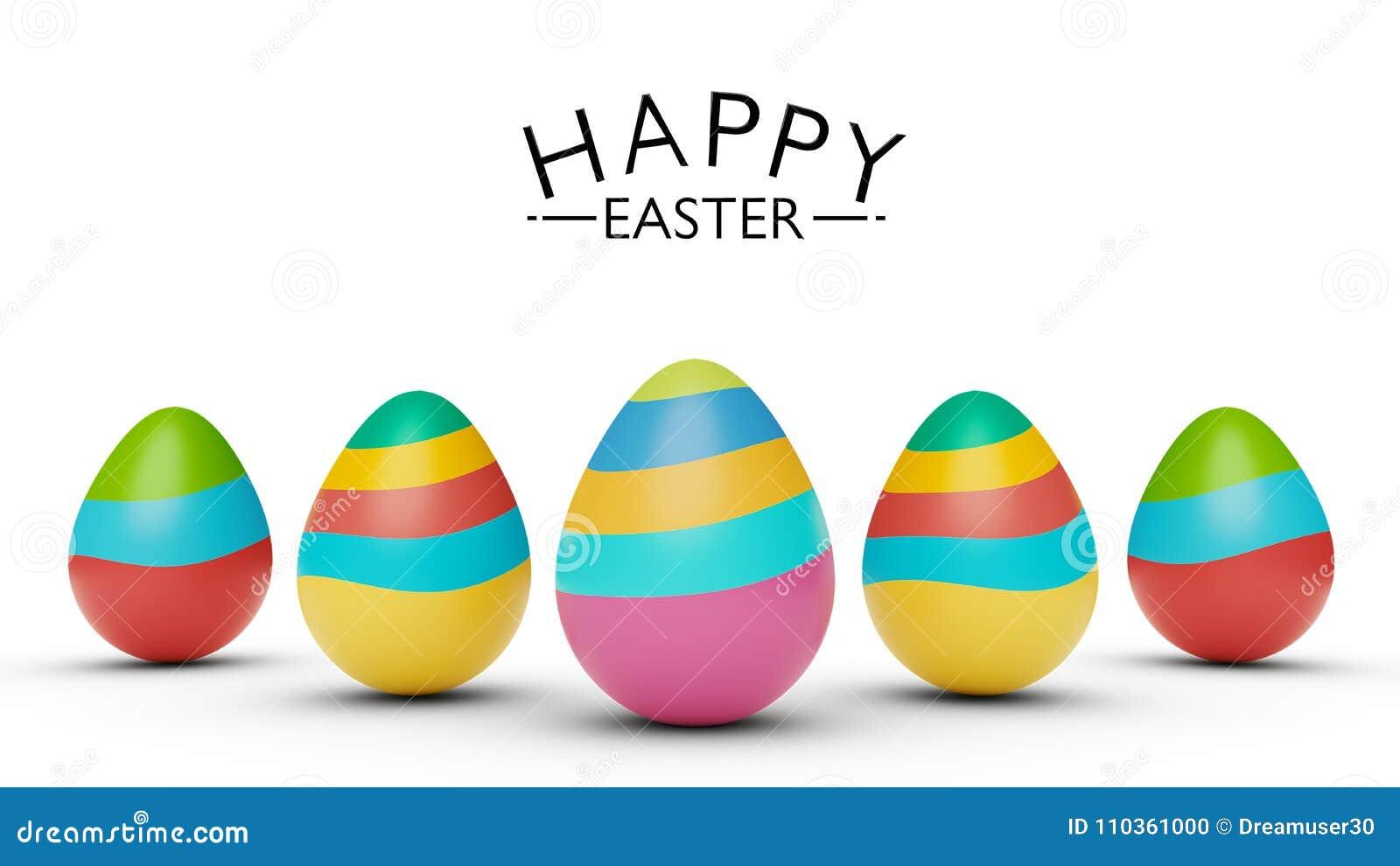 与愉快的复活节问候3d翻译的五颜六色的复活节彩蛋