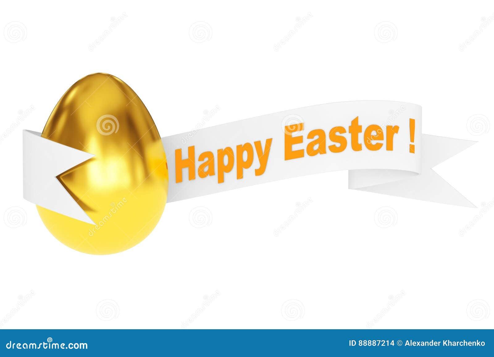 与愉快的复活节丝带标志的金黄鸡蛋 3d翻译