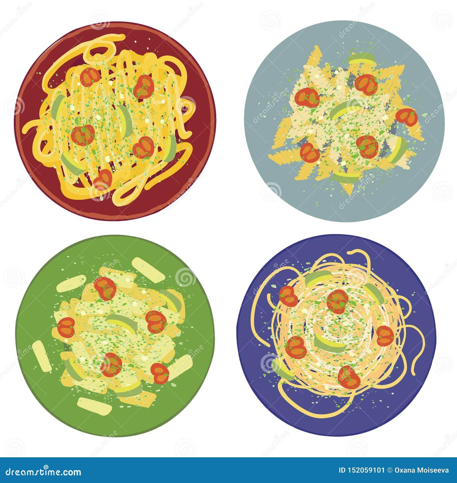 与意粉、penne、tagliatelle和fisilli的面团pesto在套色板