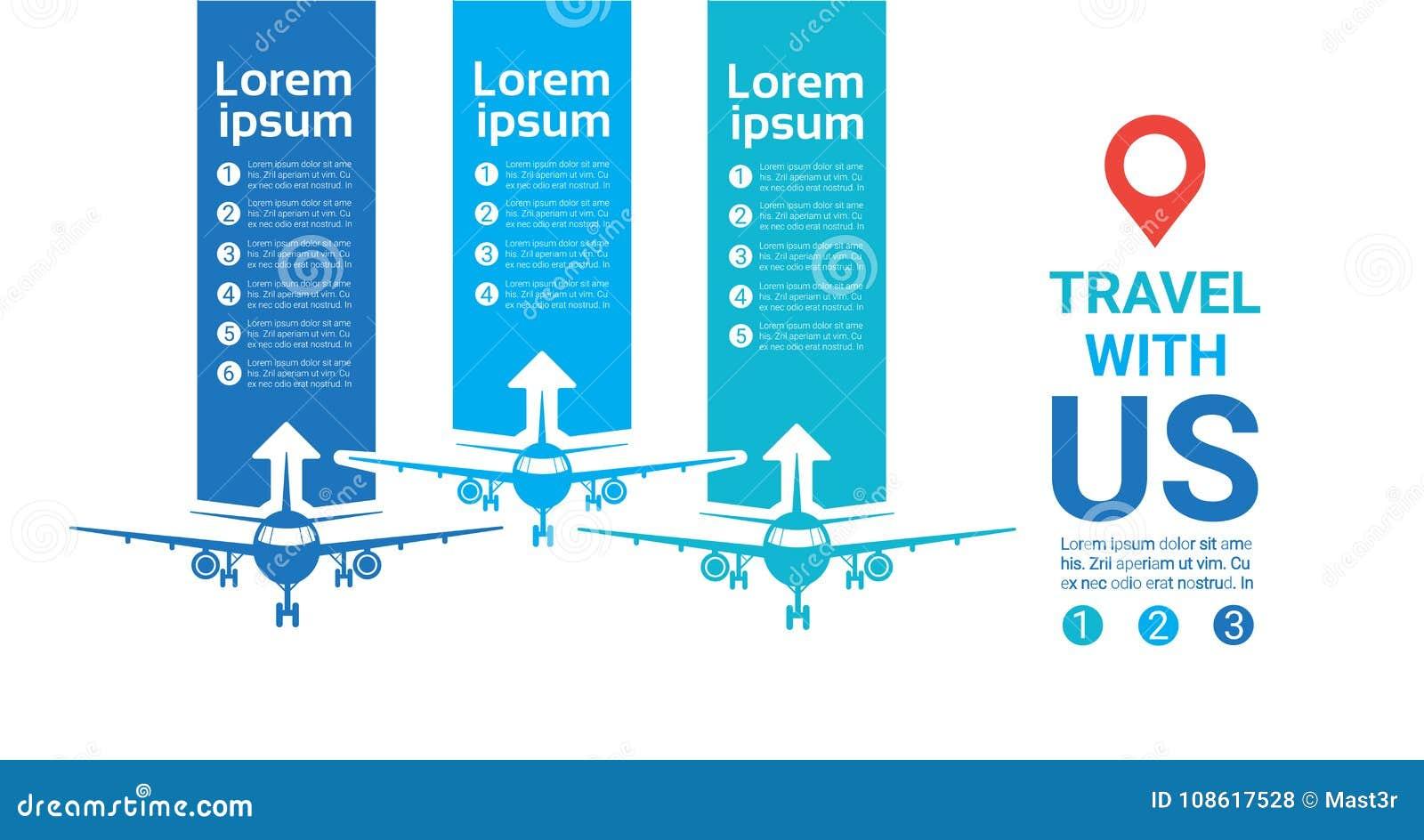 与我们的旅行模板海报在背景的飞机剪影与拷贝空间