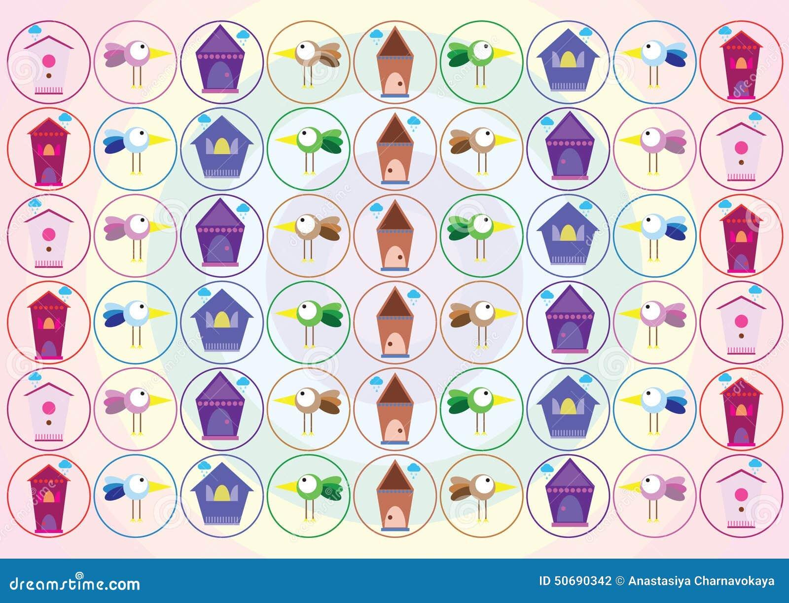 Download 与房子的五颜六色的鸟 向量例证. 插画 包括有 要素, 蓝色, beautifuler, 动画片, 图象 - 50690342