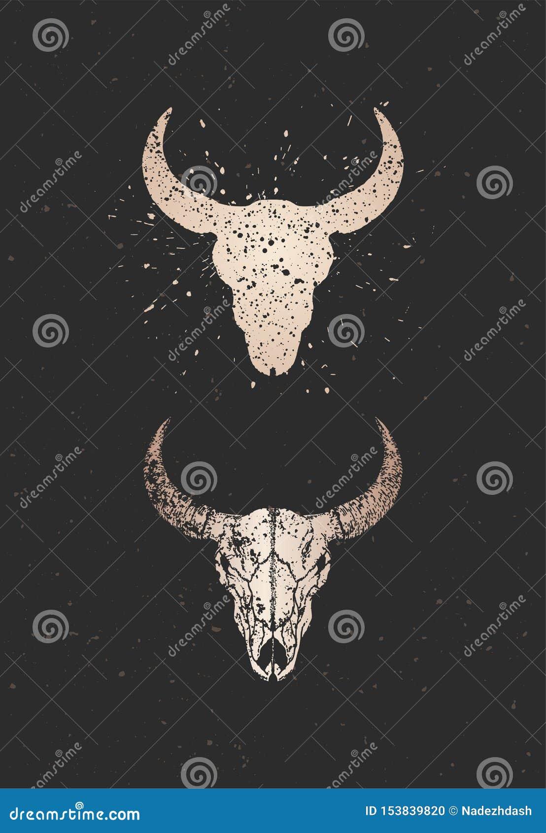 与手拉的公牛头骨两个变形的传染媒介例证在黑背景的 金子剪影和等高与难看的东西
