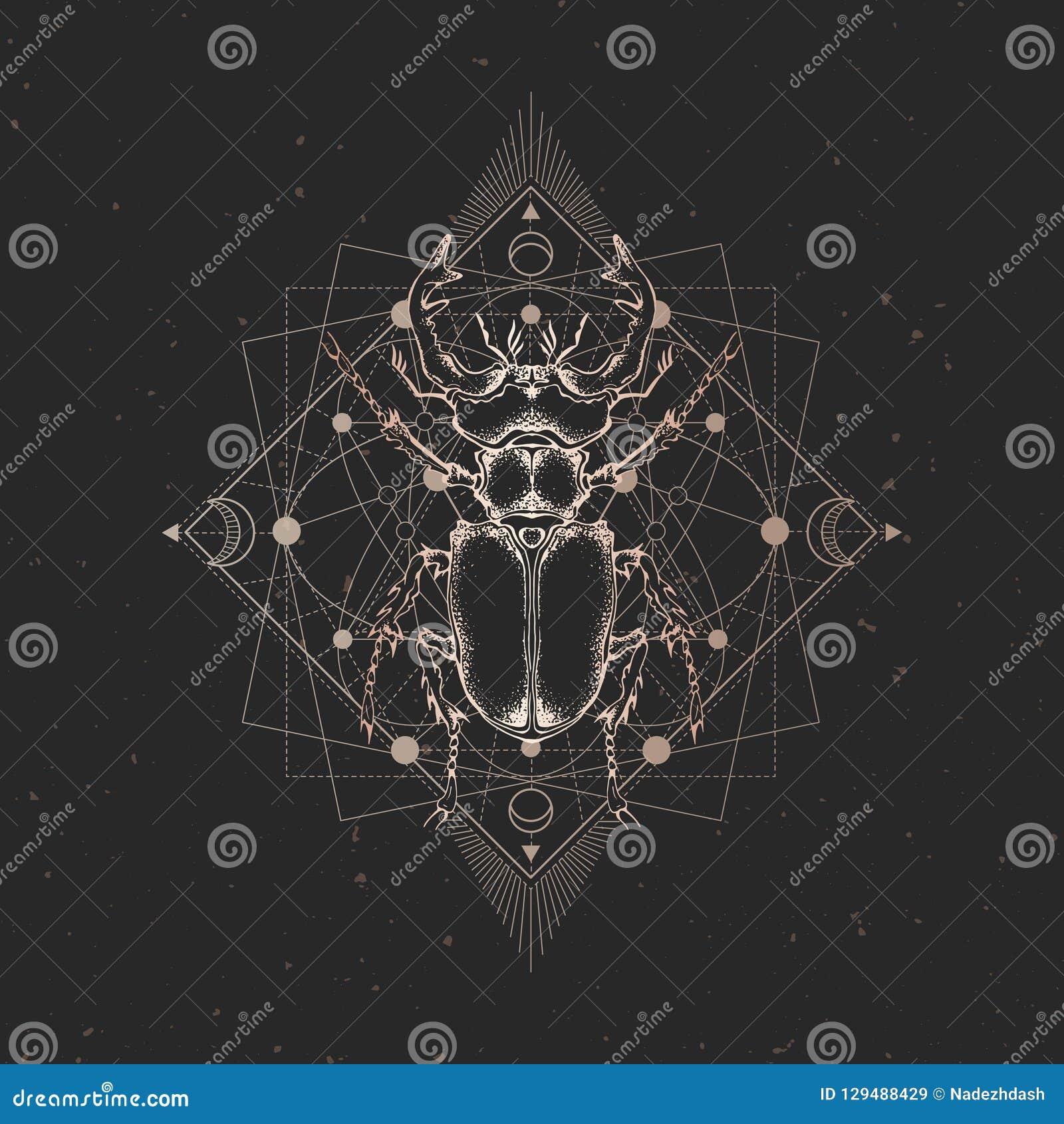 与手拉的昆虫的传染媒介例证和在黑葡萄酒背景的神圣的几何标志 抽象神秘的标志 金子林