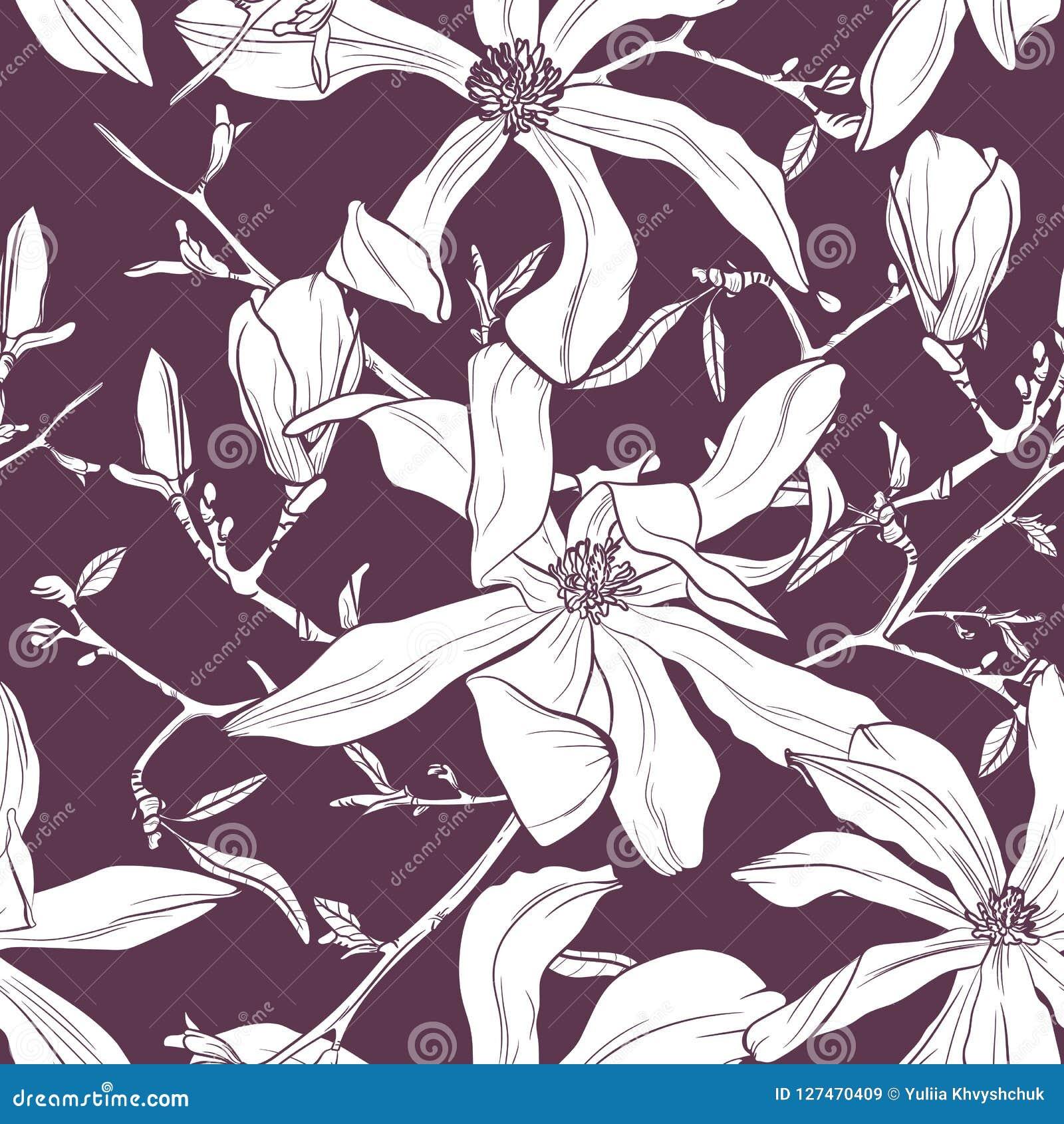 与手拉的木兰花的无缝的样式 也corel凹道例证向量