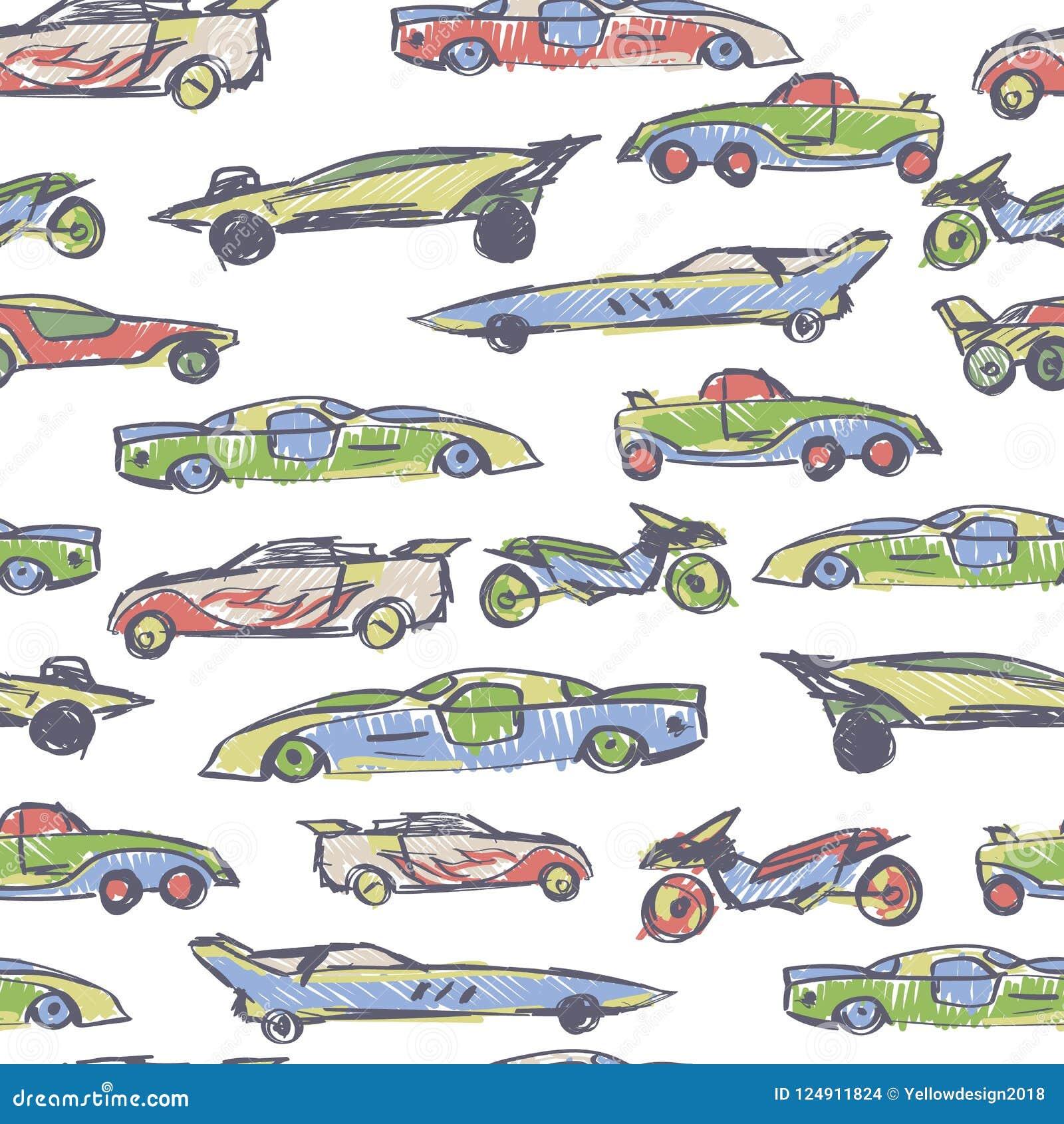 与手拉的逗人喜爱的汽车的无缝的样式 动画片汽车传染媒介例证 为孩子织品,纺织品,托儿所墙纸完善