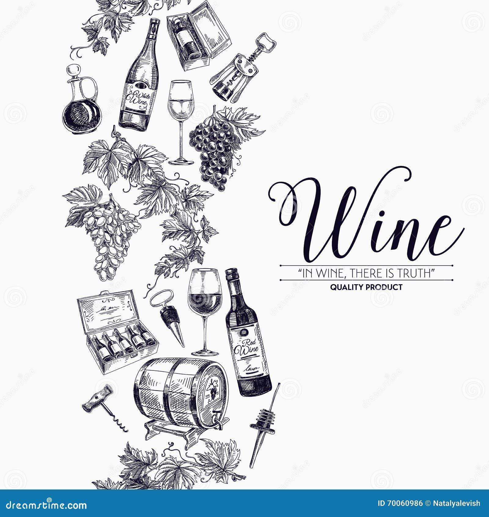 导航与手拉的酒瓶,酒桶和葡萄酒杯的背景 酿酒厂例证 模板设计 边界图片