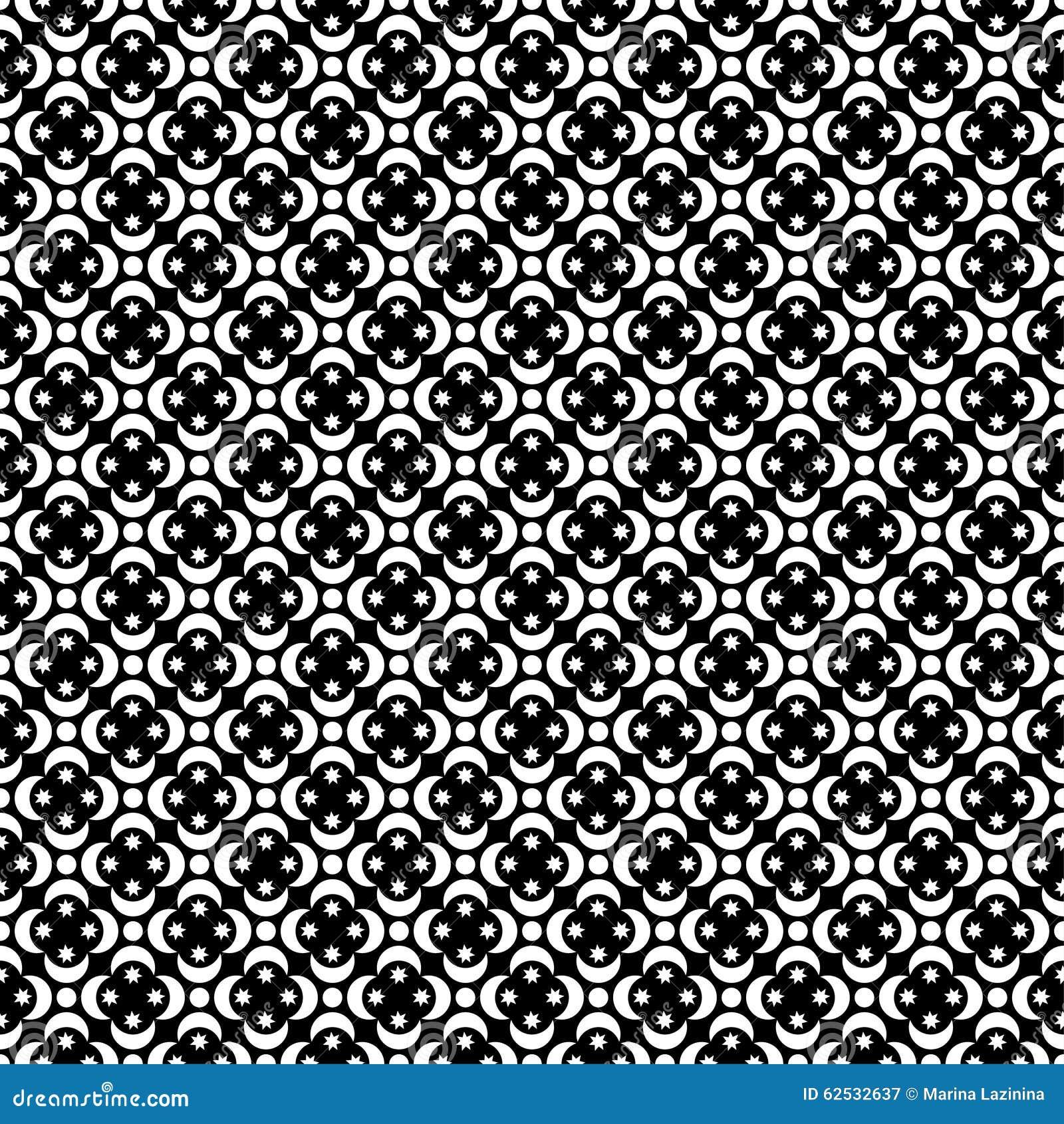与抽象图的无缝的黑白装饰背景