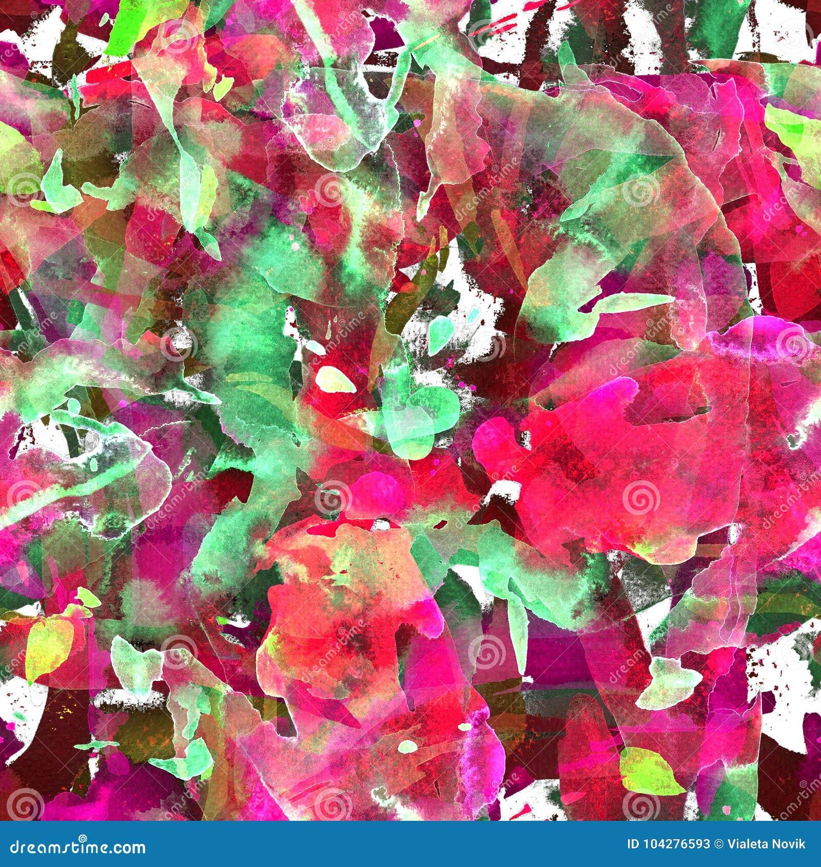 与抽象条纹、小点和绘画的技巧的水彩无缝的样式