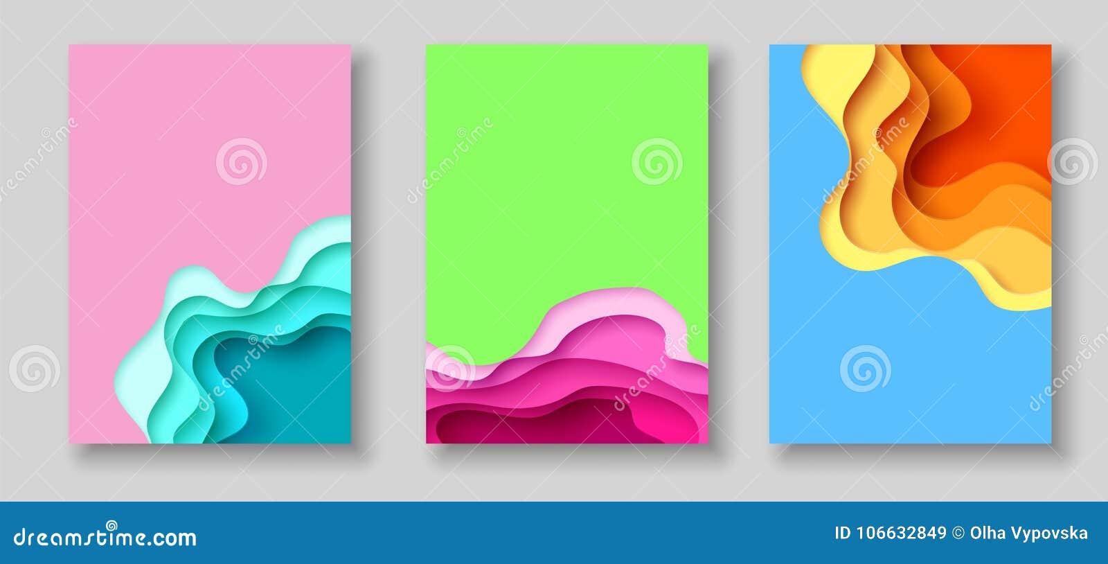 与抽象纸的盖子或飞行物模板削减了蓝绿色桃红色黄色背景 在雕刻艺术样式的传染媒介模板