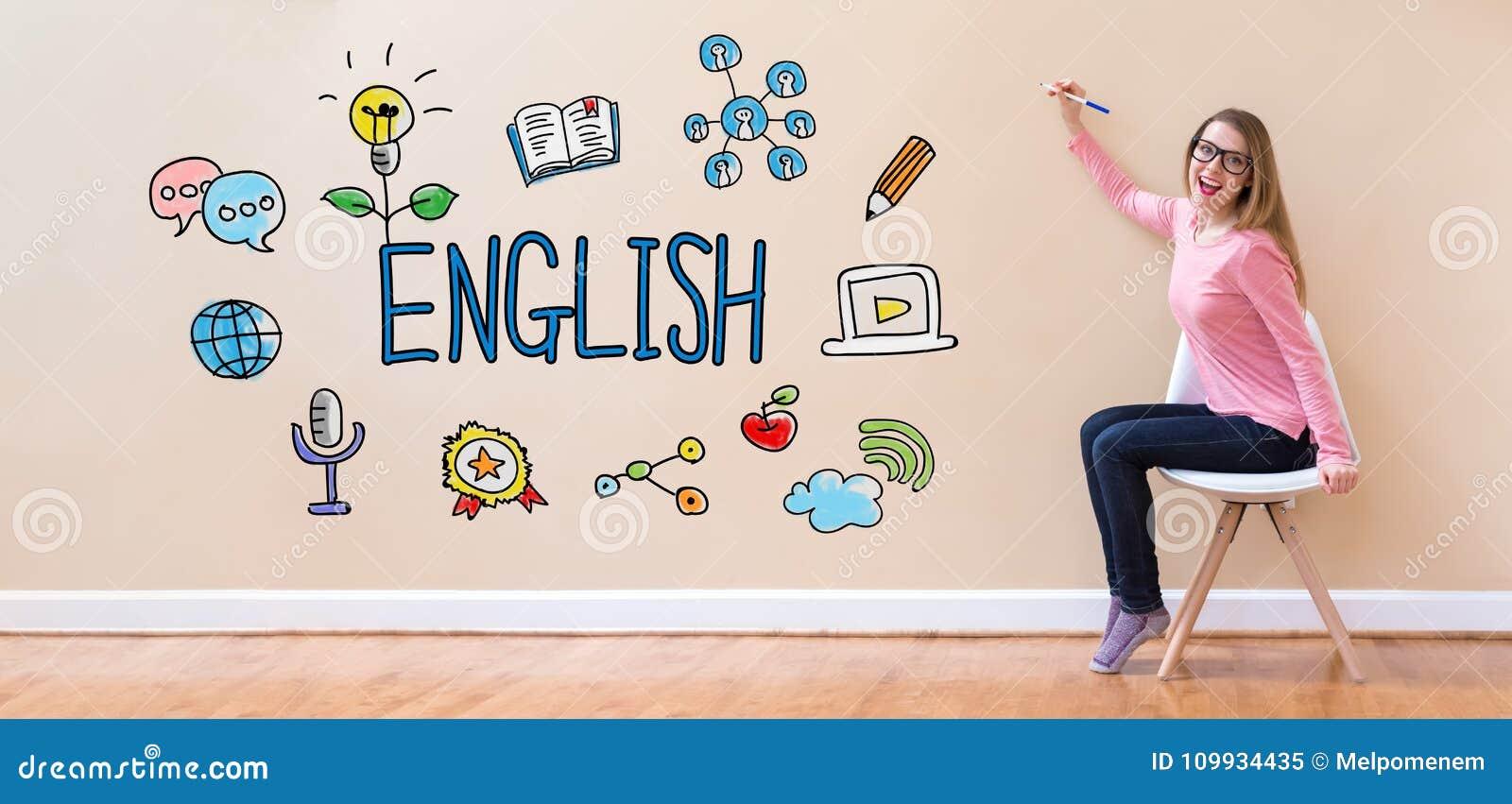 与拿着笔的少妇的英语