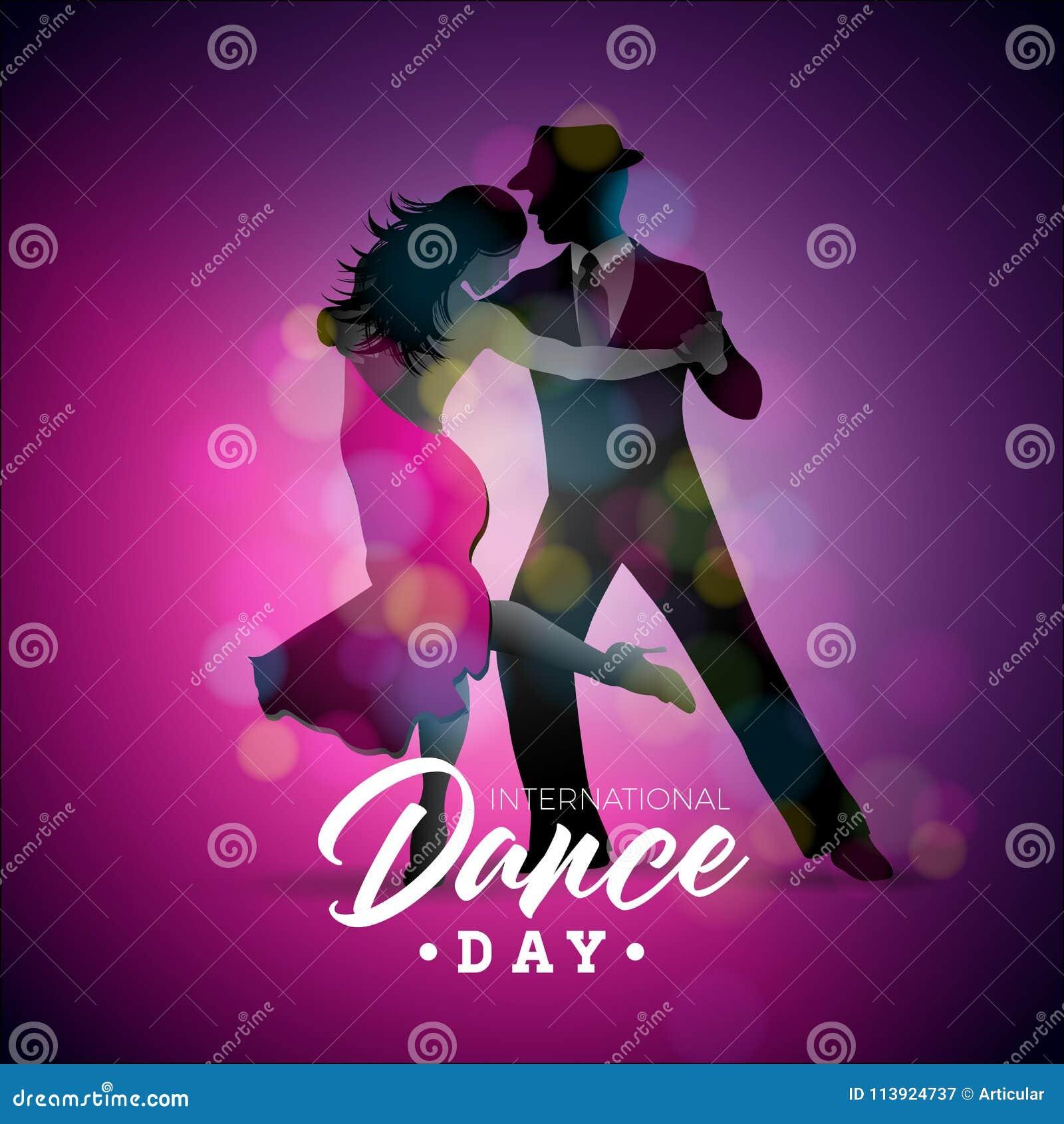 与探戈跳舞夫妇的国际舞蹈天传染媒介例证在紫色背景 横幅的设计模板