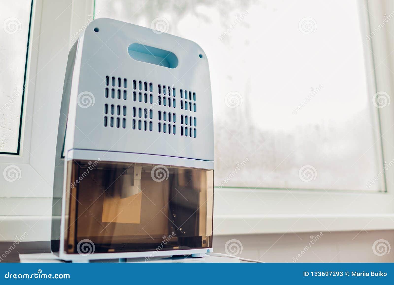 与接触控制板,湿度指示剂,紫外灯,空气ionizer,水容器工作的抽湿机在湿窗口旁边