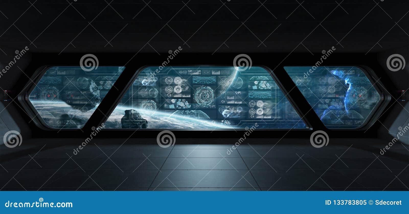 与控制板数字式屏幕3D的黑暗的太空飞船内部关于
