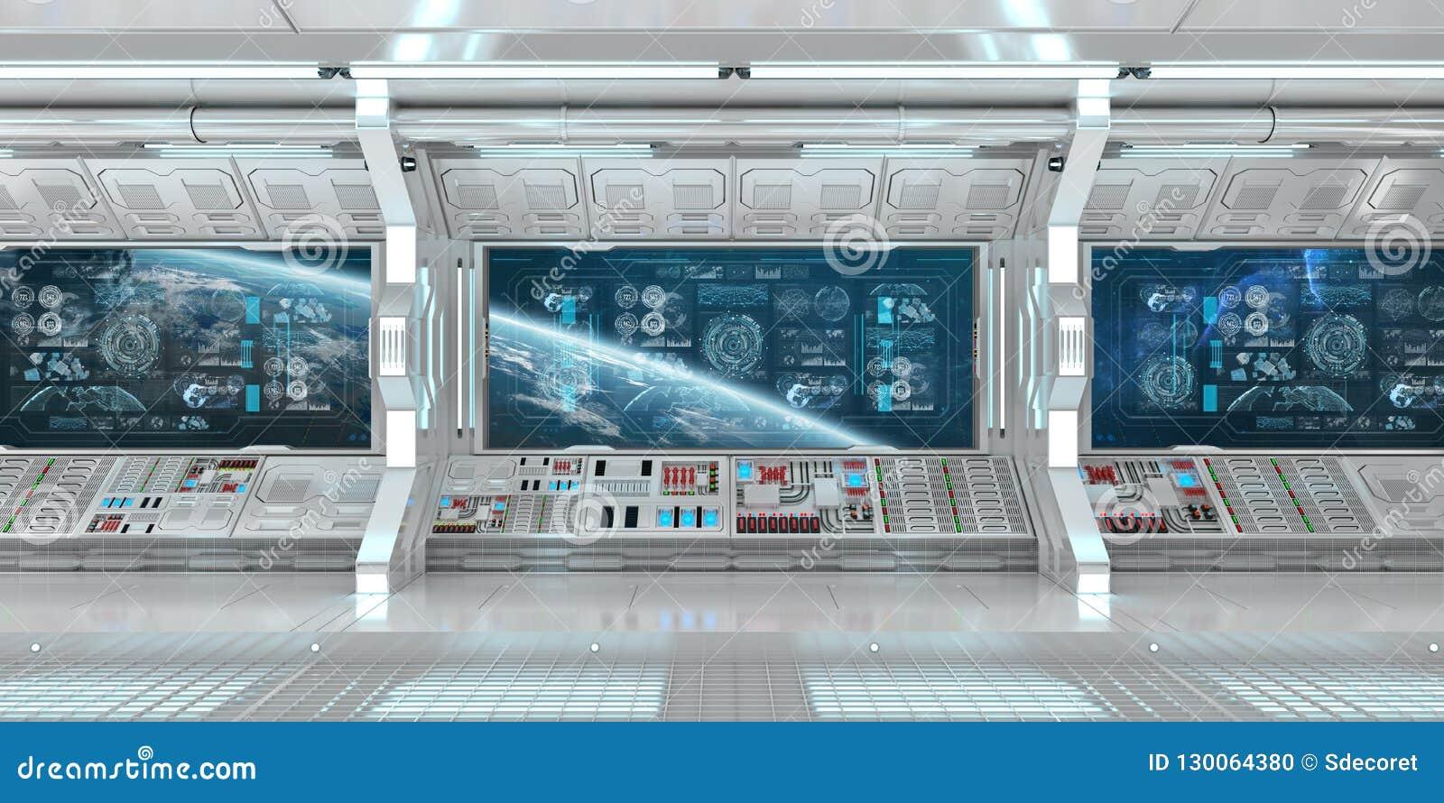 与控制板数字式屏幕3D r的白色太空飞船内部