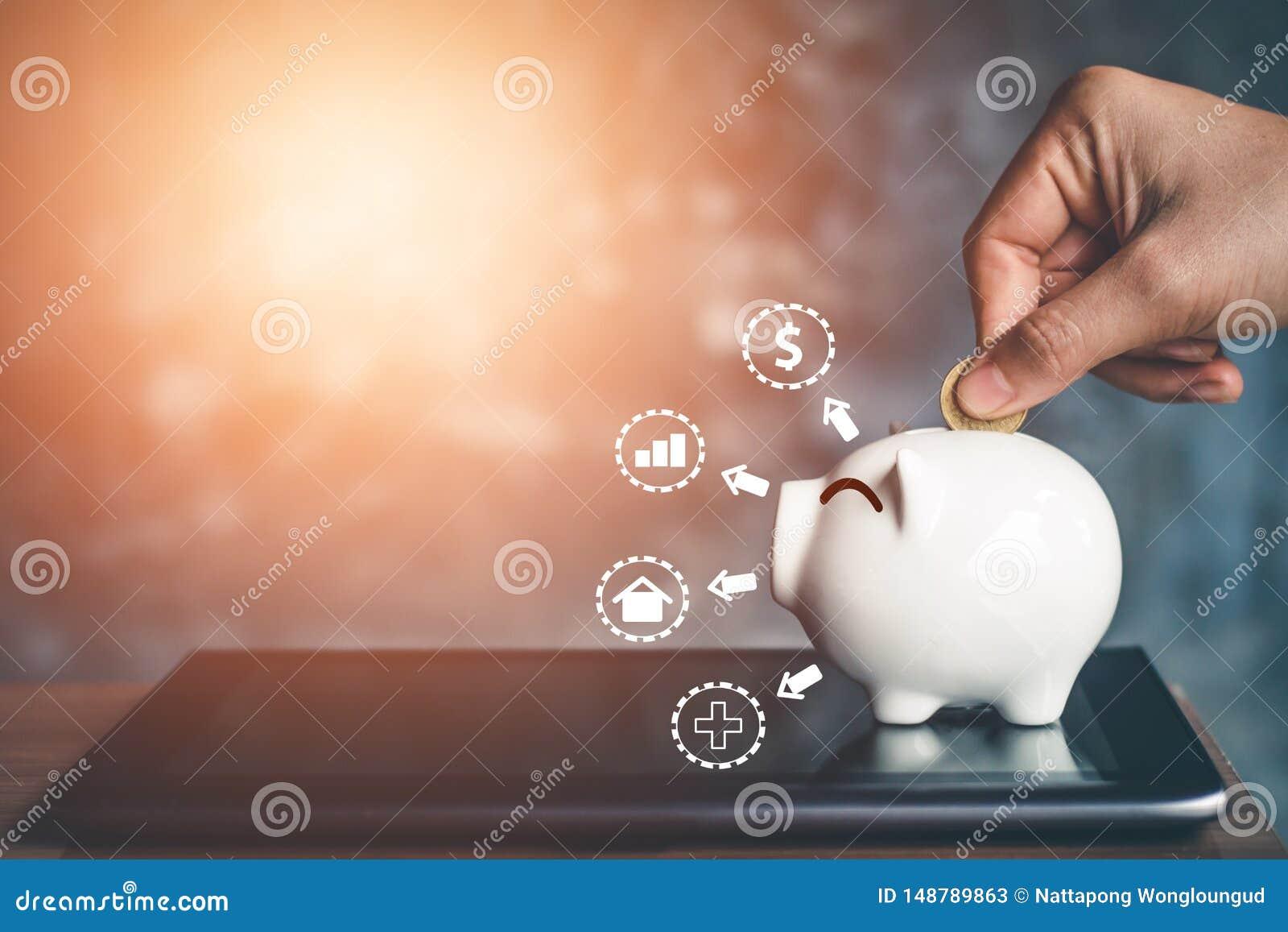 与攒钱的存钱罐硬币,计划存金钱以后使用
