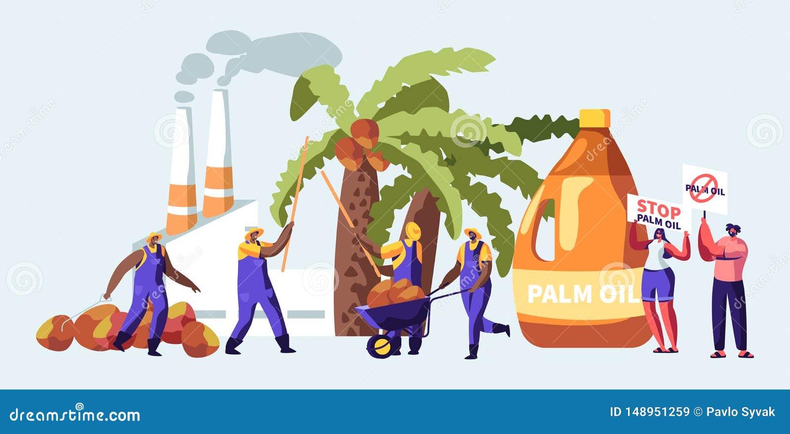 与收集果子,有散发烟,污染物气体的管子的加工厂的工作者的棕榈产石油的产业概念