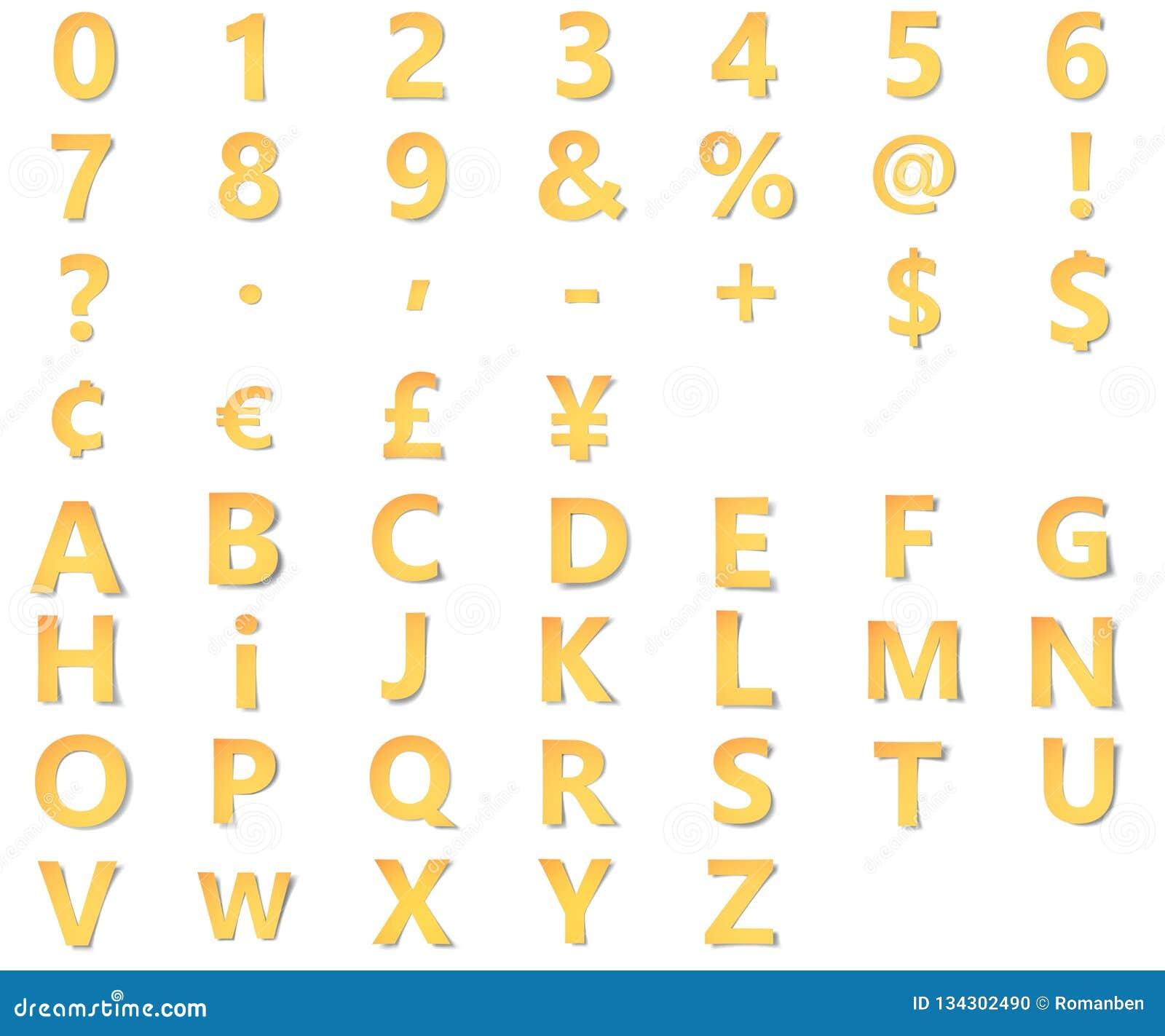 与数字的黄色字母表,标点和标志,货币标记从与软的阴影的纸雕刻了 3D Origami