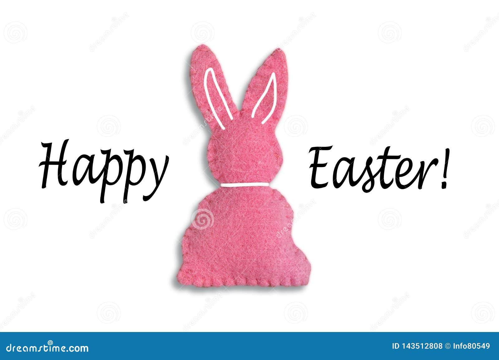 与文本'复活节快乐'和白色背景的桃红色复活节兔子