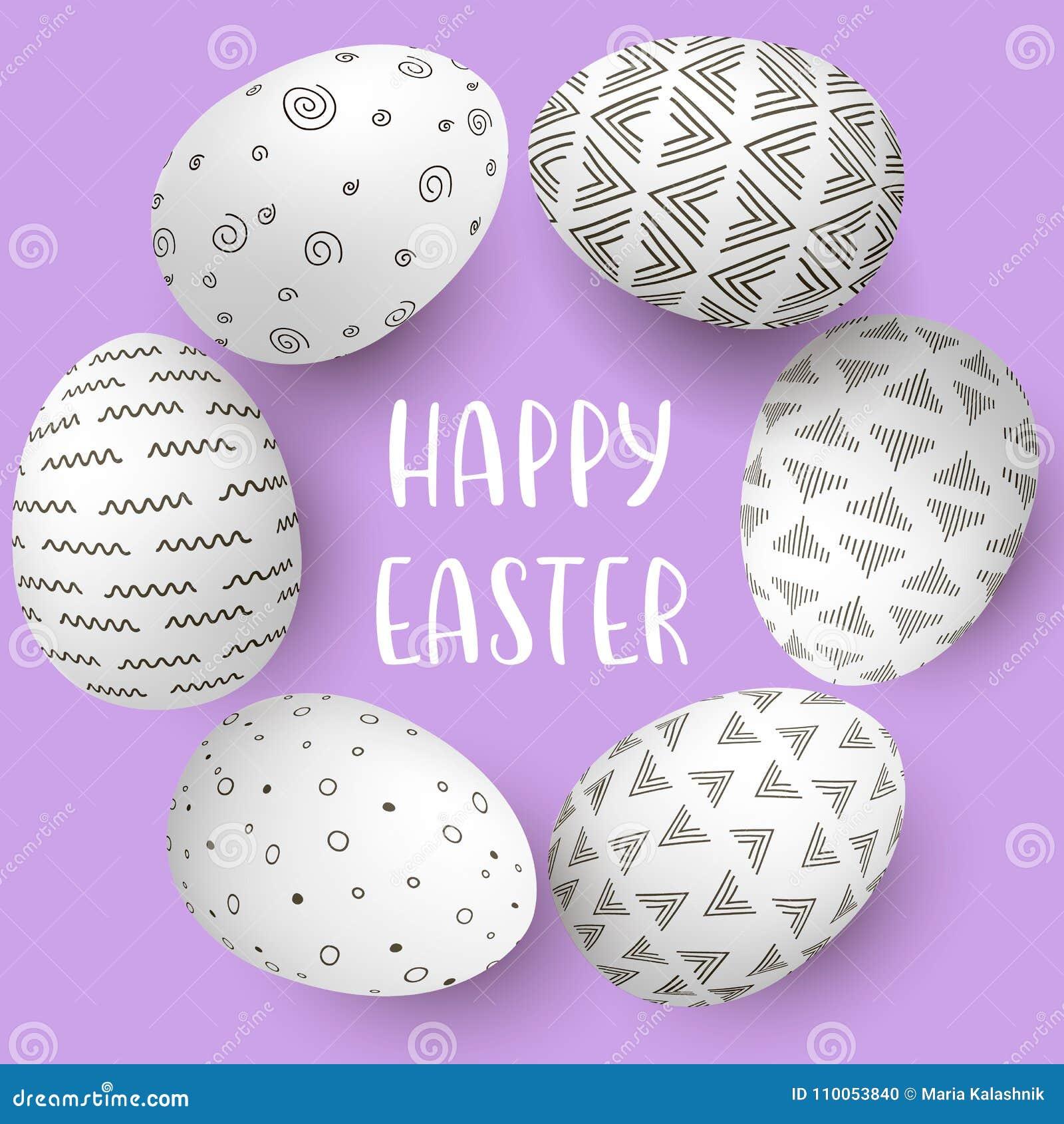 与文本的愉快的复活节彩蛋框架 在圈子的白鸡蛋与在紫色背景的单色简单的装饰