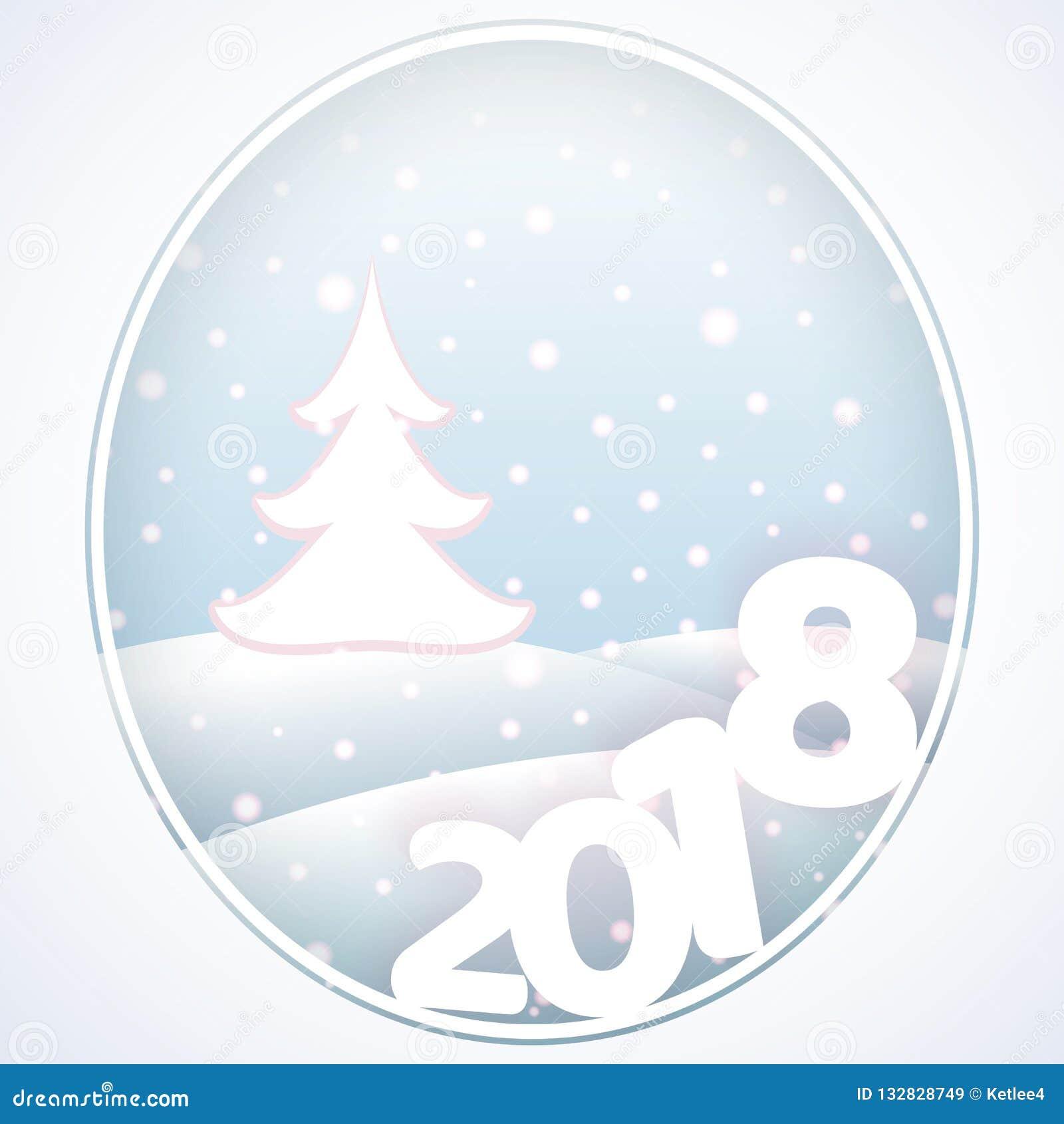 与文本2018新年和圣诞节冬天backgroun的明信片