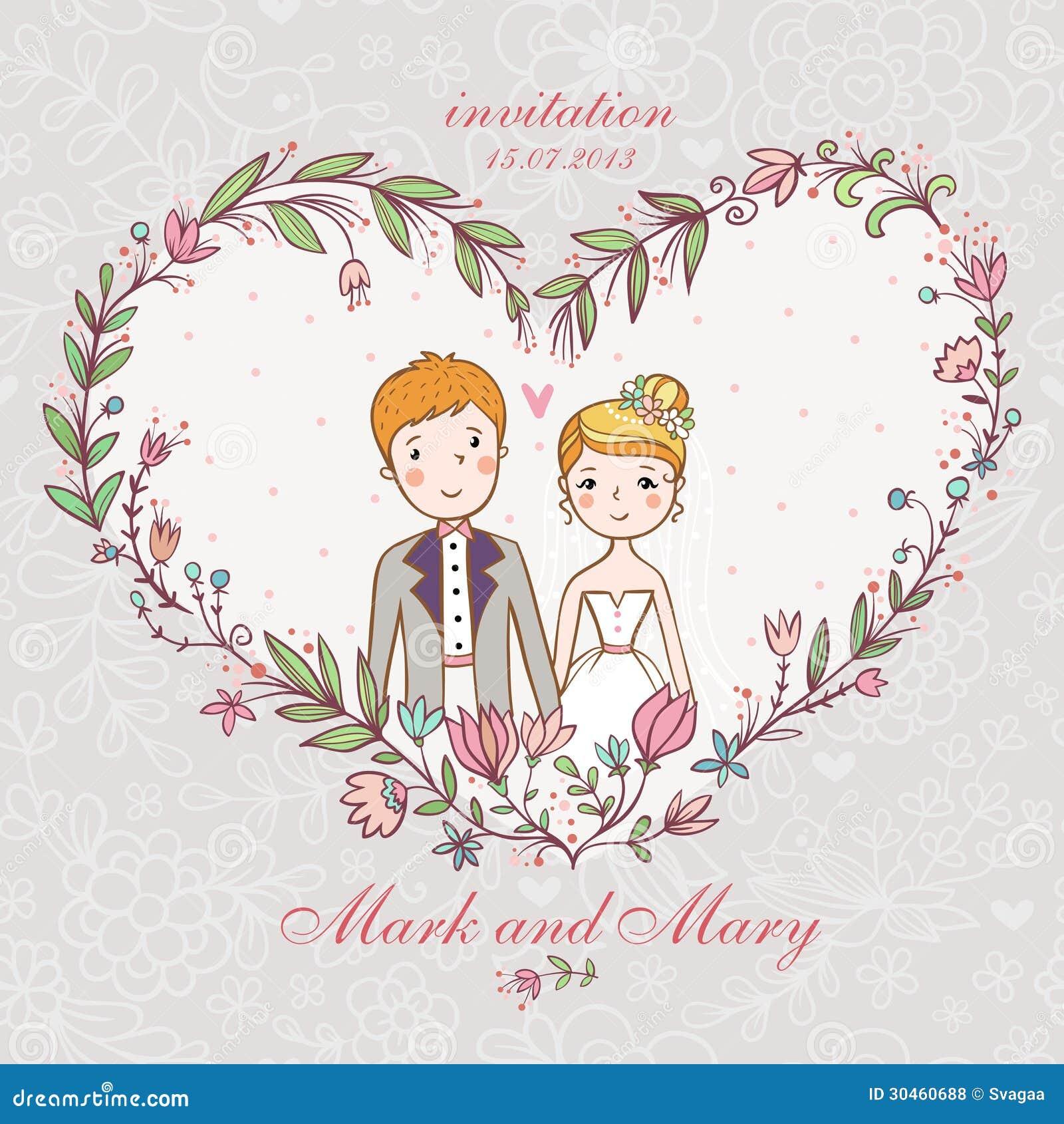 与新娘,新郎,花的婚礼邀请。