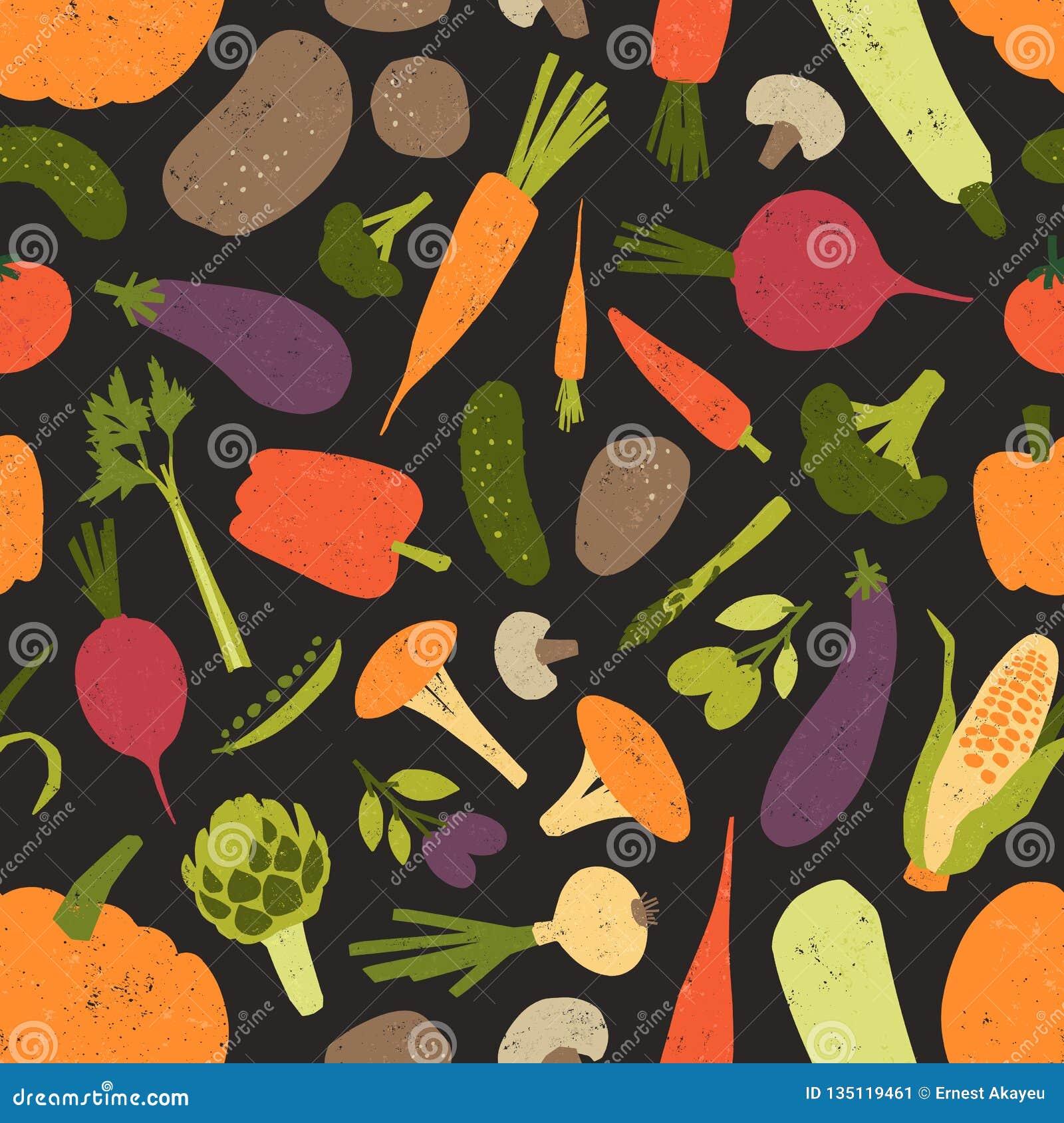 与新鲜的鲜美菜和蘑菇的无缝的样式在黑背景 背景用健康素食食物或