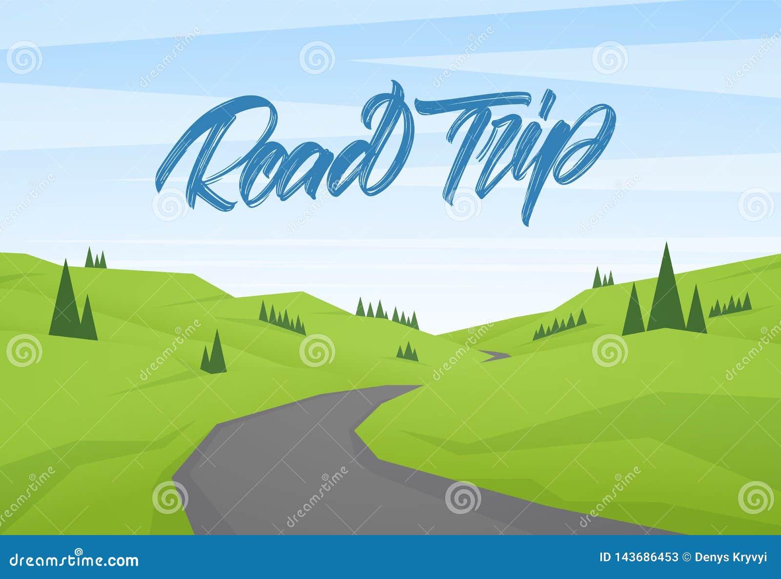 与旅行的手写的类型字法的传染媒介动画片平的夏天风景