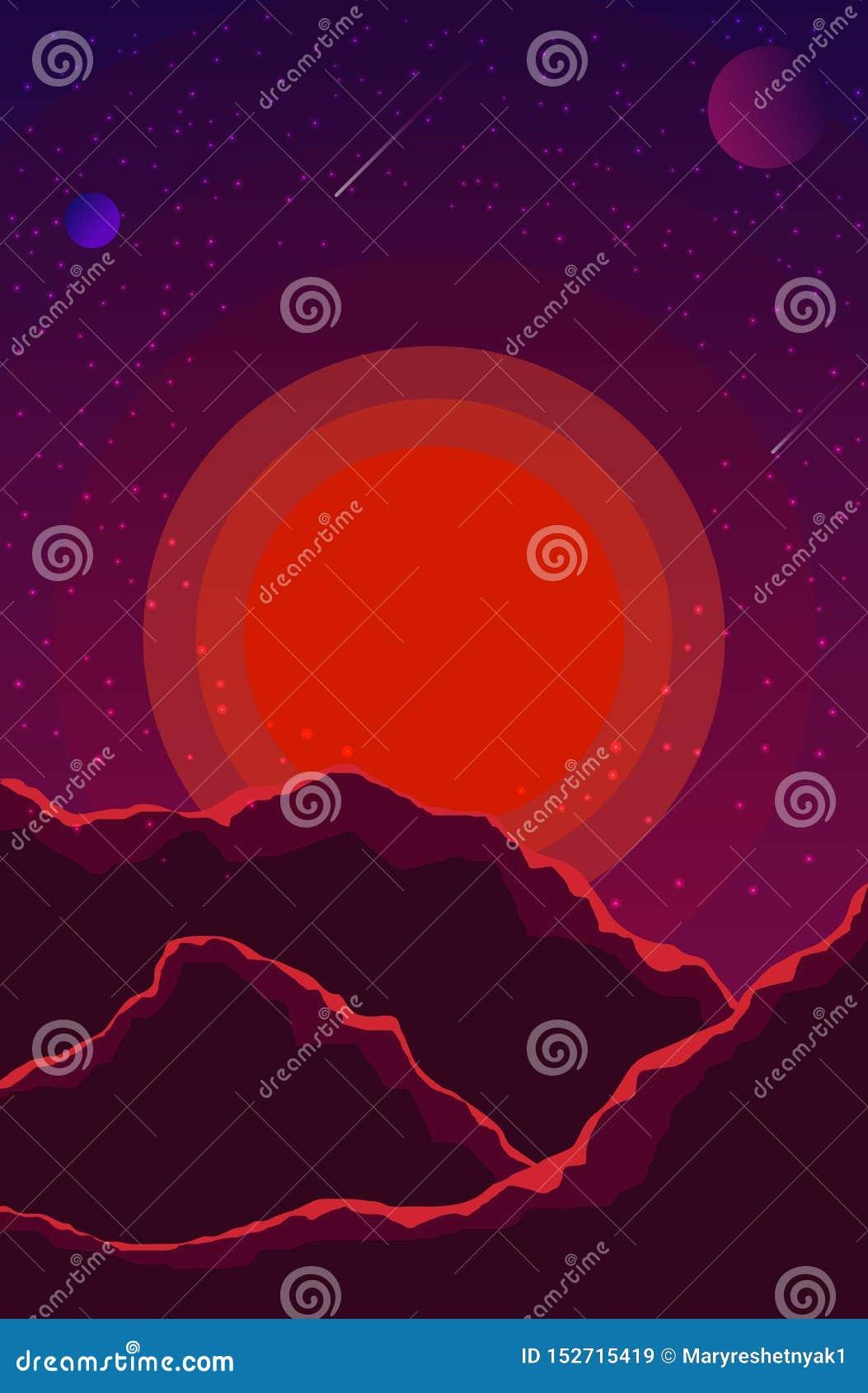 与日落、行星和满天星斗的天空的风景 在树荫紫罗兰的空间风景,紫色 E EPS10