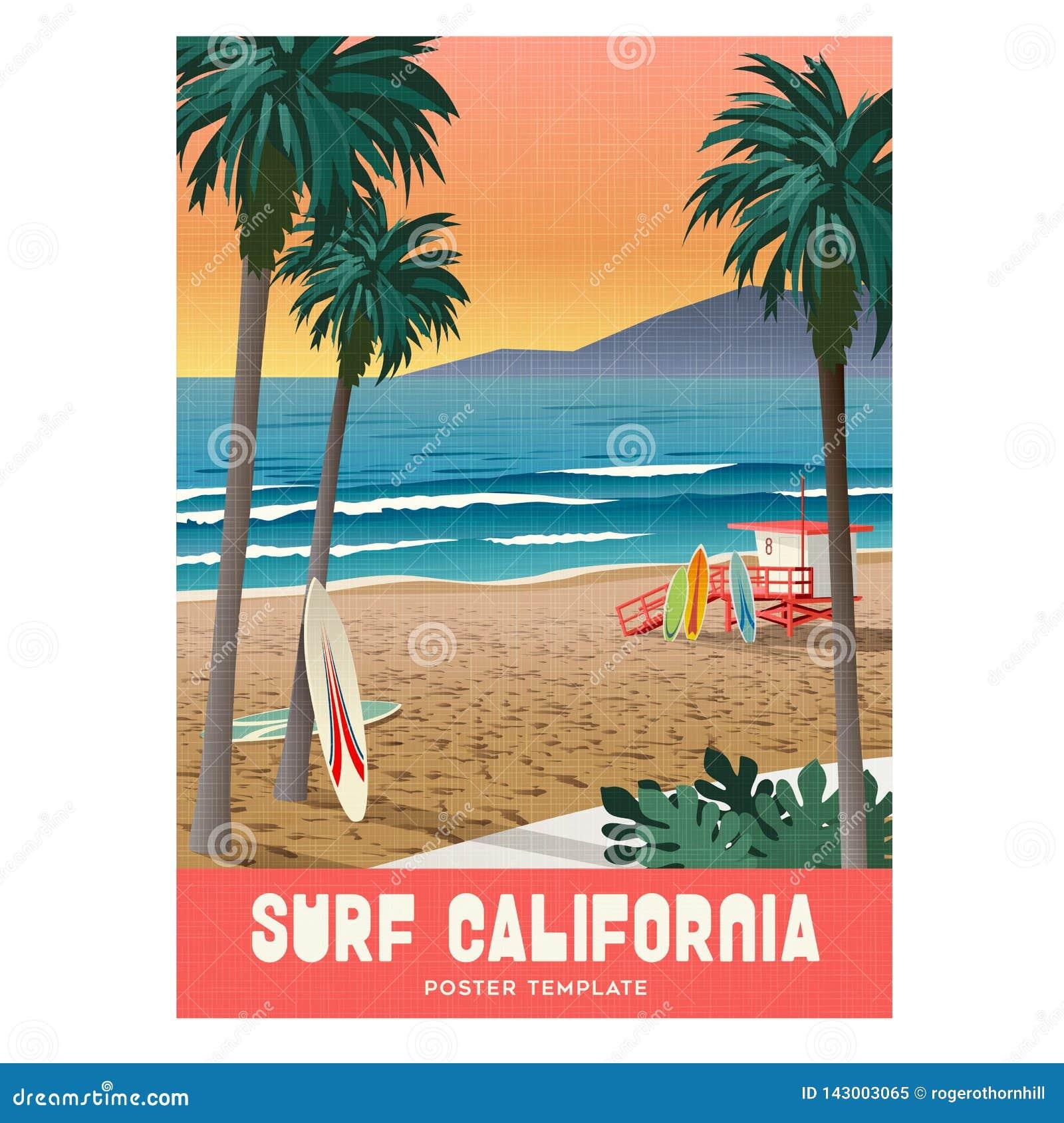 与日落和棕榈树的加利福尼亚海滩冲浪的旅行海报